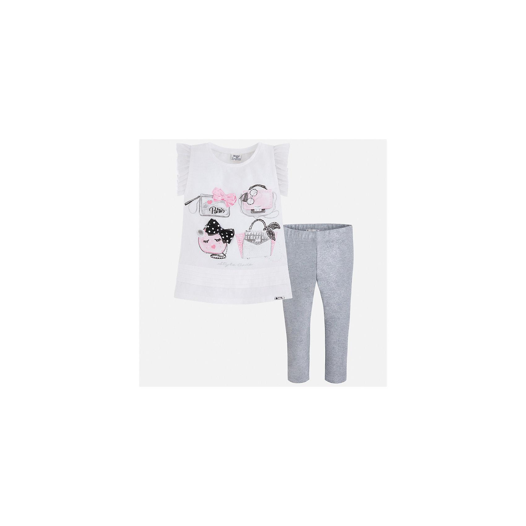 Комплект: блузка и леггинсы для девочки MayoralКомплекты<br>Характеристики товара:<br><br>• цвет: белый/серый<br>• состав: 95% хлопок, 5% эластан<br>• комплектация: футболка, леггинсы<br>• футболка декорирована принтом и оборками<br>• леггинсы однотонные<br>• пояс на резинке<br>• страна бренда: Испания<br><br>Красивый качественный комплект для девочки поможет разнообразить гардероб ребенка и удобно одеться в теплую погоду. Он отлично сочетается с другими предметами. Универсальный цвет позволяет подобрать к вещам верхнюю одежду практически любой расцветки. Интересная отделка модели делает её нарядной и оригинальной. В составе материала - натуральный хлопок, гипоаллергенный, приятный на ощупь, дышащий.<br><br>Одежда, обувь и аксессуары от испанского бренда Mayoral полюбились детям и взрослым по всему миру. Модели этой марки - стильные и удобные. Для их производства используются только безопасные, качественные материалы и фурнитура. Порадуйте ребенка модными и красивыми вещами от Mayoral! <br><br>Комплект для девочки от испанского бренда Mayoral (Майорал) можно купить в нашем интернет-магазине.<br><br>Ширина мм: 123<br>Глубина мм: 10<br>Высота мм: 149<br>Вес г: 209<br>Цвет: серый<br>Возраст от месяцев: 96<br>Возраст до месяцев: 108<br>Пол: Женский<br>Возраст: Детский<br>Размер: 134,92,98,104,110,116,122,128<br>SKU: 5290604