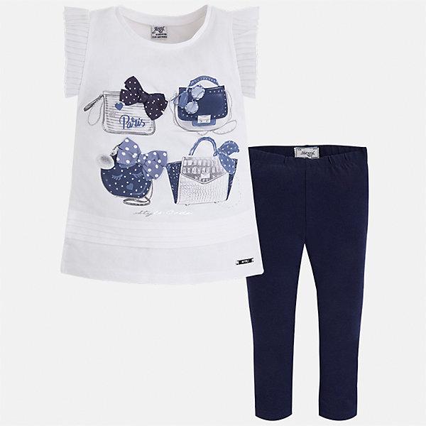 Комплект: блузка и леггинсы для девочки MayoralКомплекты<br>Характеристики товара:<br><br>• цвет: белый/синий<br>• состав: 95% хлопок, 5% эластан<br>• комплектация: футболка, леггинсы<br>• футболка декорирована принтом и оборками<br>• леггинсы однотонные<br>• пояс на резинке<br>• страна бренда: Испания<br><br>Красивый качественный комплект для девочки поможет разнообразить гардероб ребенка и удобно одеться в теплую погоду. Он отлично сочетается с другими предметами. Интересная отделка модели делает её нарядной и оригинальной. В составе материала - натуральный хлопок, гипоаллергенный, приятный на ощупь, дышащий.<br><br>Комплект для девочки от испанского бренда Mayoral (Майорал) можно купить в нашем интернет-магазине.<br>Ширина мм: 123; Глубина мм: 10; Высота мм: 149; Вес г: 209; Цвет: синий; Возраст от месяцев: 48; Возраст до месяцев: 60; Пол: Женский; Возраст: Детский; Размер: 110,116,122,128,134,92,98,104; SKU: 5290613;