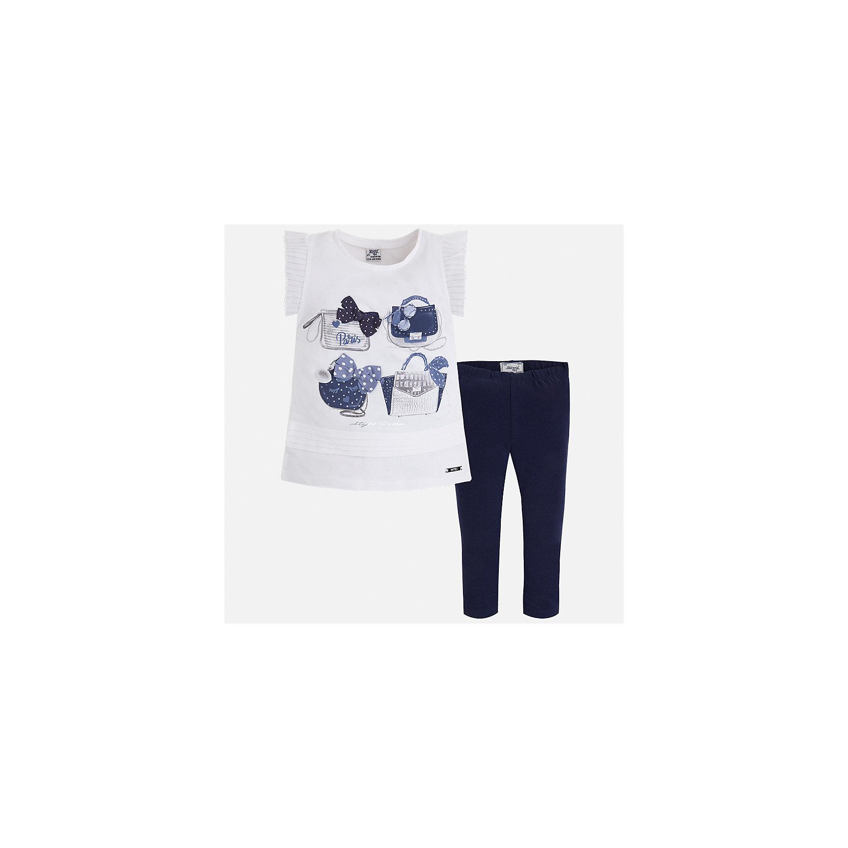 Комплект: блузка и леггинсы для девочки MayoralКомплекты<br>Характеристики товара:<br><br>• цвет: белый/синий<br>• состав: 95% хлопок, 5% эластан<br>• комплектация: футболка, леггинсы<br>• футболка декорирована принтом и оборками<br>• леггинсы однотонные<br>• пояс на резинке<br>• страна бренда: Испания<br><br>Красивый качественный комплект для девочки поможет разнообразить гардероб ребенка и удобно одеться в теплую погоду. Он отлично сочетается с другими предметами. Интересная отделка модели делает её нарядной и оригинальной. В составе материала - натуральный хлопок, гипоаллергенный, приятный на ощупь, дышащий.<br><br>Комплект для девочки от испанского бренда Mayoral (Майорал) можно купить в нашем интернет-магазине.<br><br>Ширина мм: 123<br>Глубина мм: 10<br>Высота мм: 149<br>Вес г: 209<br>Цвет: синий<br>Возраст от месяцев: 96<br>Возраст до месяцев: 108<br>Пол: Женский<br>Возраст: Детский<br>Размер: 134,92,98,104,110,116,122,128<br>SKU: 5290613