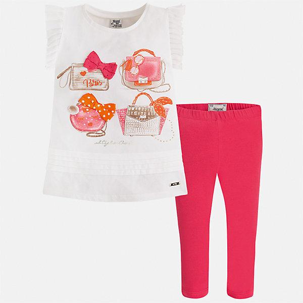 Комплект: блузка и леггинсы для девочки MayoralКомплекты<br>Характеристики товара:<br><br>• цвет: белый/розовый<br>• состав: 95% хлопок, 5% эластан<br>• комплектация: футболка, леггинсы<br>• футболка декорирована принтом и оборками<br>• леггинсы однотонные<br>• пояс на резинке<br>• страна бренда: Испания<br><br>Красивый качественный комплект для девочки поможет разнообразить гардероб ребенка и удобно одеться в теплую погоду. Он отлично сочетается с другими предметами. Интересная отделка модели делает её нарядной и оригинальной. В составе материала - натуральный хлопок, гипоаллергенный, приятный на ощупь, дышащий.<br><br>Комплект для девочки от испанского бренда Mayoral (Майорал) можно купить в нашем интернет-магазине.<br>Ширина мм: 123; Глубина мм: 10; Высота мм: 149; Вес г: 209; Цвет: красный; Возраст от месяцев: 18; Возраст до месяцев: 24; Пол: Женский; Возраст: Детский; Размер: 92,134,98,104,110,116,122,128; SKU: 5290622;