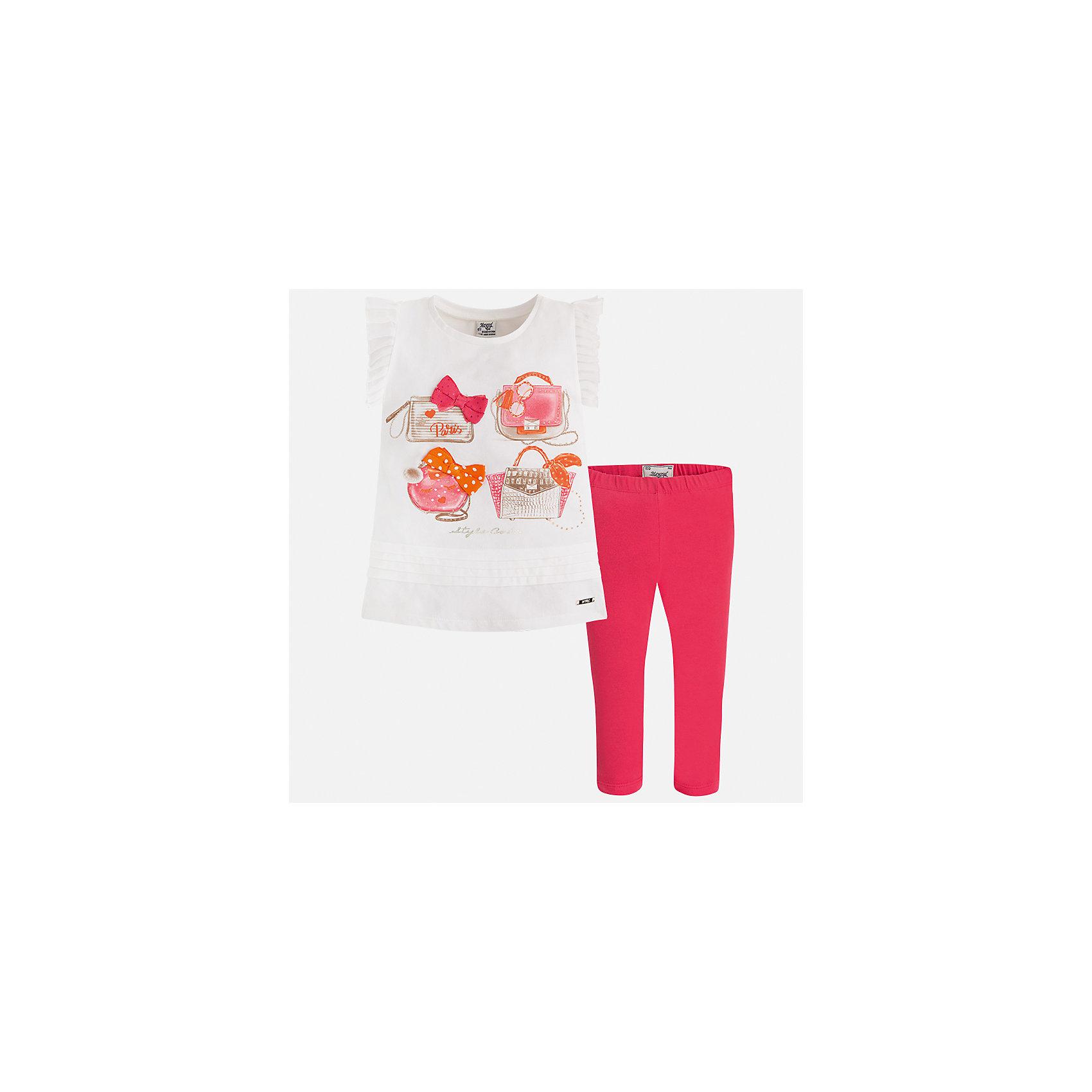 Комплект: блузка и леггинсы для девочки MayoralКомплекты<br>Характеристики товара:<br><br>• цвет: белый/розовый<br>• состав: 95% хлопок, 5% эластан<br>• комплектация: футболка, леггинсы<br>• футболка декорирована принтом и оборками<br>• леггинсы однотонные<br>• пояс на резинке<br>• страна бренда: Испания<br><br>Красивый качественный комплект для девочки поможет разнообразить гардероб ребенка и удобно одеться в теплую погоду. Он отлично сочетается с другими предметами. Интересная отделка модели делает её нарядной и оригинальной. В составе материала - натуральный хлопок, гипоаллергенный, приятный на ощупь, дышащий.<br><br>Комплект для девочки от испанского бренда Mayoral (Майорал) можно купить в нашем интернет-магазине.<br><br>Ширина мм: 123<br>Глубина мм: 10<br>Высота мм: 149<br>Вес г: 209<br>Цвет: красный<br>Возраст от месяцев: 18<br>Возраст до месяцев: 24<br>Пол: Женский<br>Возраст: Детский<br>Размер: 92,134,128,122,116,110,104,98<br>SKU: 5290622