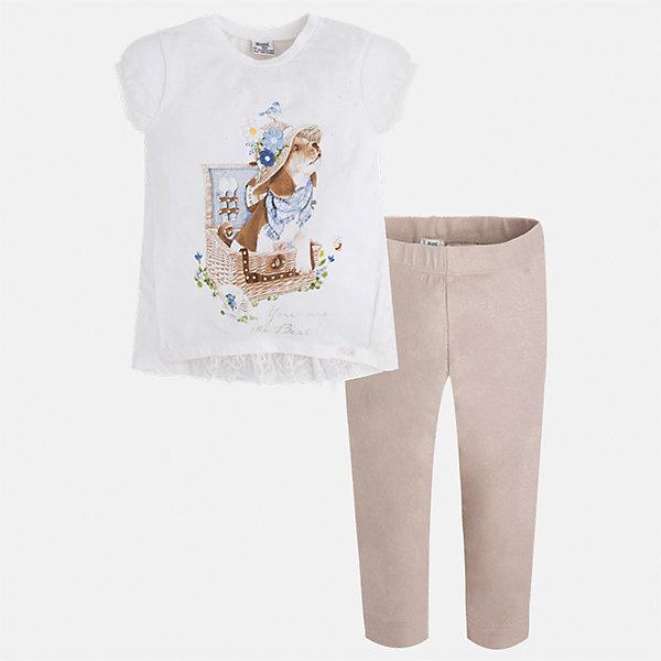 Комплект: футбола с длинным рукавом и леггинсы для девочки MayoralКомплекты<br>Характеристики товара:<br><br>• цвет: белый/бежевый<br>• состав: 95% хлопок, 5% эластан<br>• комплектация: футболка, леггинсы<br>• футболка декорирована принтом<br>• леггинсы однотонные<br>• пояс на резинке<br>• страна бренда: Испания<br><br>Стильный качественный комплект для девочки поможет разнообразить гардероб ребенка и удобно одеться в теплую погоду. Он отлично сочетается с другими предметами. Универсальный цвет позволяет подобрать к вещам верхнюю одежду практически любой расцветки. Интересная отделка модели делает её нарядной и оригинальной. В составе материала - натуральный хлопок, гипоаллергенный, приятный на ощупь, дышащий.<br><br>Одежда, обувь и аксессуары от испанского бренда Mayoral полюбились детям и взрослым по всему миру. Модели этой марки - стильные и удобные. Для их производства используются только безопасные, качественные материалы и фурнитура. Порадуйте ребенка модными и красивыми вещами от Mayoral! <br><br>Комплект для девочки от испанского бренда Mayoral (Майорал) можно купить в нашем интернет-магазине.<br>Ширина мм: 123; Глубина мм: 10; Высота мм: 149; Вес г: 209; Цвет: бежевый; Возраст от месяцев: 18; Возраст до месяцев: 24; Пол: Женский; Возраст: Детский; Размер: 92,134,128,122,116,98,110,104; SKU: 5290631;