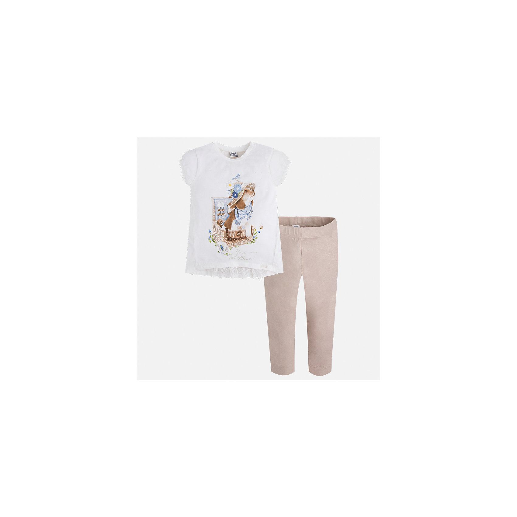 Комплект: футбола с длинным рукавом и леггинсы для девочки MayoralКомплекты<br>Характеристики товара:<br><br>• цвет: белый/бежевый<br>• состав: 95% хлопок, 5% эластан<br>• комплектация: футболка, леггинсы<br>• футболка декорирована принтом<br>• леггинсы однотонные<br>• пояс на резинке<br>• страна бренда: Испания<br><br>Стильный качественный комплект для девочки поможет разнообразить гардероб ребенка и удобно одеться в теплую погоду. Он отлично сочетается с другими предметами. Универсальный цвет позволяет подобрать к вещам верхнюю одежду практически любой расцветки. Интересная отделка модели делает её нарядной и оригинальной. В составе материала - натуральный хлопок, гипоаллергенный, приятный на ощупь, дышащий.<br><br>Одежда, обувь и аксессуары от испанского бренда Mayoral полюбились детям и взрослым по всему миру. Модели этой марки - стильные и удобные. Для их производства используются только безопасные, качественные материалы и фурнитура. Порадуйте ребенка модными и красивыми вещами от Mayoral! <br><br>Комплект для девочки от испанского бренда Mayoral (Майорал) можно купить в нашем интернет-магазине.<br><br>Ширина мм: 123<br>Глубина мм: 10<br>Высота мм: 149<br>Вес г: 209<br>Цвет: бежевый<br>Возраст от месяцев: 96<br>Возраст до месяцев: 108<br>Пол: Женский<br>Возраст: Детский<br>Размер: 134,92,98,104,110,116,122,128<br>SKU: 5290631