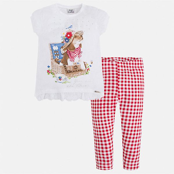 Комплект: футбола с длинным рукавом и леггинсы для девочки MayoralКомплекты<br>Характеристики товара:<br><br>• цвет: белый/красный<br>• состав: 95% хлопок, 5% эластан<br>• комплектация: футболка, леггинсы<br>• футболка декорирована принтом<br>• леггинсы однотонные<br>• пояс на резинке<br>• страна бренда: Испания<br><br>Стильный качественный комплект для девочки поможет разнообразить гардероб ребенка и удобно одеться в теплую погоду. Он отлично сочетается с другими предметами. Универсальный цвет позволяет подобрать к вещам верхнюю одежду практически любой расцветки. Интересная отделка модели делает её нарядной и оригинальной. В составе материала - натуральный хлопок, гипоаллергенный, приятный на ощупь, дышащий.<br><br>Одежда, обувь и аксессуары от испанского бренда Mayoral полюбились детям и взрослым по всему миру. Модели этой марки - стильные и удобные. Для их производства используются только безопасные, качественные материалы и фурнитура. Порадуйте ребенка модными и красивыми вещами от Mayoral! <br><br>Комплект для девочки от испанского бренда Mayoral (Майорал) можно купить в нашем интернет-магазине.<br><br>Ширина мм: 123<br>Глубина мм: 10<br>Высота мм: 149<br>Вес г: 209<br>Цвет: красный<br>Возраст от месяцев: 18<br>Возраст до месяцев: 24<br>Пол: Женский<br>Возраст: Детский<br>Размер: 92,134,128,122,116,110,104,98<br>SKU: 5290640