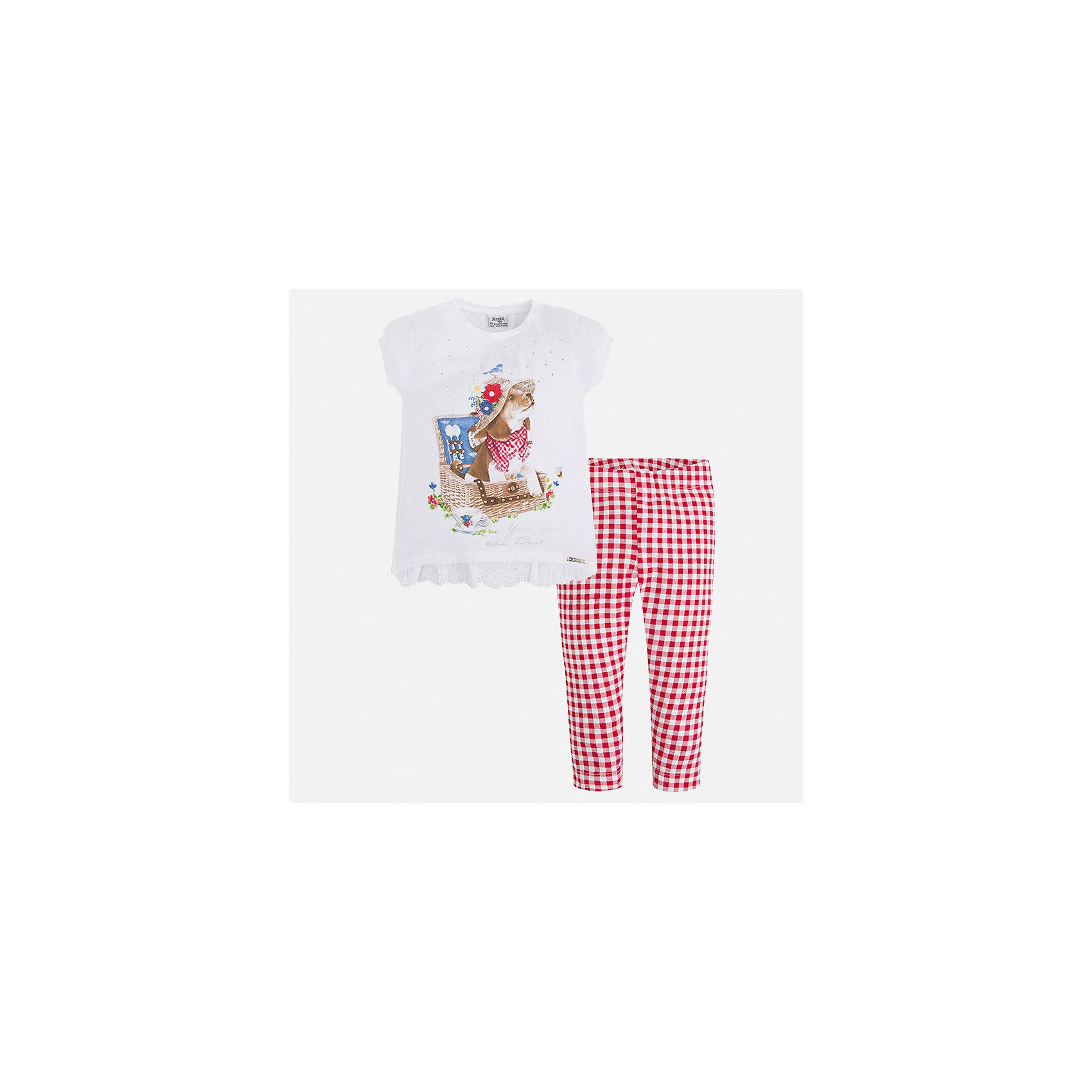 Комплект: футбола с длинным рукавом и леггинсы для девочки MayoralХарактеристики товара:<br><br>• цвет: белый/красный<br>• состав: 95% хлопок, 5% эластан<br>• комплектация: футболка, леггинсы<br>• футболка декорирована принтом<br>• леггинсы однотонные<br>• пояс на резинке<br>• страна бренда: Испания<br><br>Стильный качественный комплект для девочки поможет разнообразить гардероб ребенка и удобно одеться в теплую погоду. Он отлично сочетается с другими предметами. Универсальный цвет позволяет подобрать к вещам верхнюю одежду практически любой расцветки. Интересная отделка модели делает её нарядной и оригинальной. В составе материала - натуральный хлопок, гипоаллергенный, приятный на ощупь, дышащий.<br><br>Одежда, обувь и аксессуары от испанского бренда Mayoral полюбились детям и взрослым по всему миру. Модели этой марки - стильные и удобные. Для их производства используются только безопасные, качественные материалы и фурнитура. Порадуйте ребенка модными и красивыми вещами от Mayoral! <br><br>Комплект для девочки от испанского бренда Mayoral (Майорал) можно купить в нашем интернет-магазине.<br><br>Ширина мм: 123<br>Глубина мм: 10<br>Высота мм: 149<br>Вес г: 209<br>Цвет: красный<br>Возраст от месяцев: 96<br>Возраст до месяцев: 108<br>Пол: Женский<br>Возраст: Детский<br>Размер: 134,92,98,104,110,116,122,128<br>SKU: 5290640