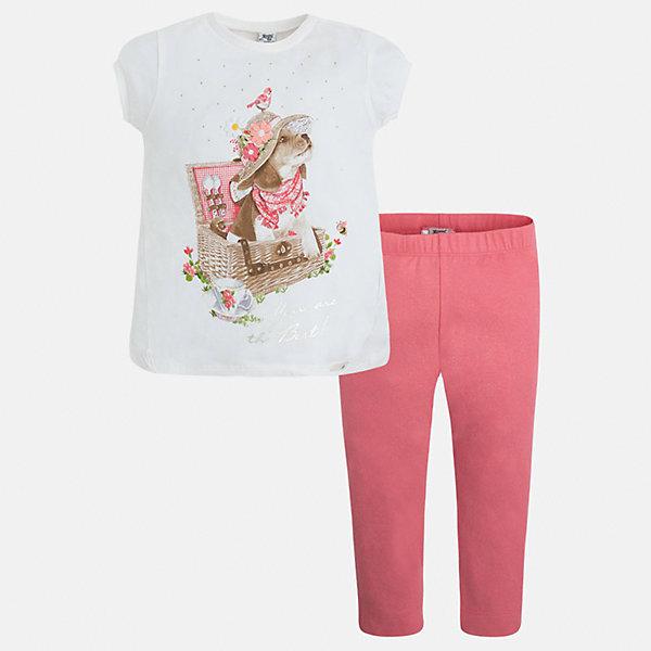 Комплект: футболка и леггинсы для девочки MayoralКомплекты<br>Характеристики товара:<br><br>• цвет: белый/розовый<br>• состав: 95% хлопок, 5% эластан<br>• комплектация: футболка, леггинсы<br>• футболка декорирована принтом<br>• леггинсы однотонные<br>• пояс на резинке<br>• страна бренда: Испания<br><br>Стильный качественный комплект для девочки поможет разнообразить гардероб ребенка и удобно одеться в теплую погоду. Он отлично сочетается с другими предметами. Универсальный цвет позволяет подобрать к вещам верхнюю одежду практически любой расцветки. Интересная отделка модели делает её нарядной и оригинальной. В составе материала - натуральный хлопок, гипоаллергенный, приятный на ощупь, дышащий.<br><br>Одежда, обувь и аксессуары от испанского бренда Mayoral полюбились детям и взрослым по всему миру. Модели этой марки - стильные и удобные. Для их производства используются только безопасные, качественные материалы и фурнитура. Порадуйте ребенка модными и красивыми вещами от Mayoral! <br><br>Комплект для девочки от испанского бренда Mayoral (Майорал) можно купить в нашем интернет-магазине.<br>Ширина мм: 123; Глубина мм: 10; Высота мм: 149; Вес г: 209; Цвет: оранжевый; Возраст от месяцев: 18; Возраст до месяцев: 24; Пол: Женский; Возраст: Детский; Размер: 92,134,128,122,116,110,104,98; SKU: 5290649;