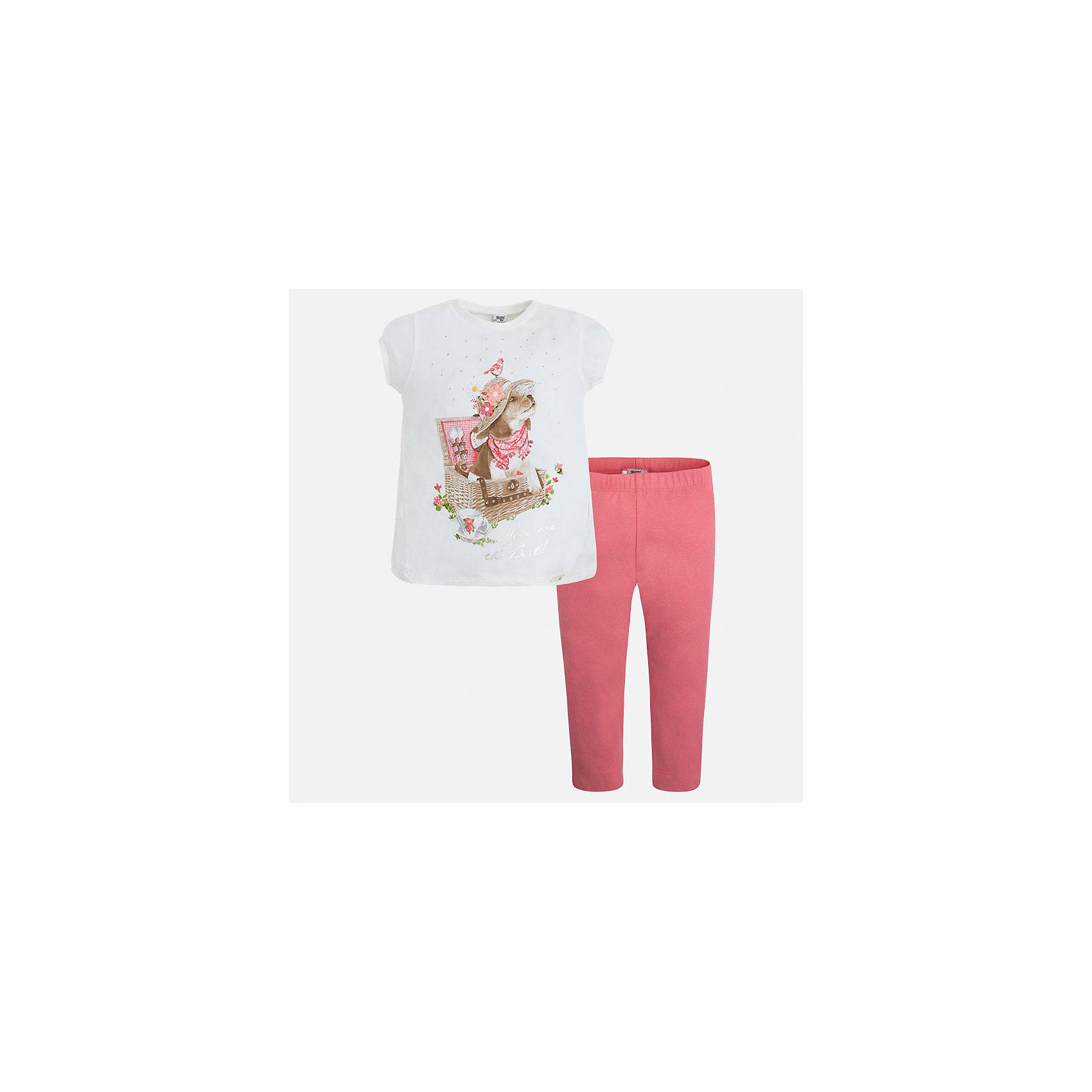 Комплект: футболка и леггинсы для девочки MayoralКомплекты<br>Характеристики товара:<br><br>• цвет: белый/розовый<br>• состав: 95% хлопок, 5% эластан<br>• комплектация: футболка, леггинсы<br>• футболка декорирована принтом<br>• леггинсы однотонные<br>• пояс на резинке<br>• страна бренда: Испания<br><br>Стильный качественный комплект для девочки поможет разнообразить гардероб ребенка и удобно одеться в теплую погоду. Он отлично сочетается с другими предметами. Универсальный цвет позволяет подобрать к вещам верхнюю одежду практически любой расцветки. Интересная отделка модели делает её нарядной и оригинальной. В составе материала - натуральный хлопок, гипоаллергенный, приятный на ощупь, дышащий.<br><br>Одежда, обувь и аксессуары от испанского бренда Mayoral полюбились детям и взрослым по всему миру. Модели этой марки - стильные и удобные. Для их производства используются только безопасные, качественные материалы и фурнитура. Порадуйте ребенка модными и красивыми вещами от Mayoral! <br><br>Комплект для девочки от испанского бренда Mayoral (Майорал) можно купить в нашем интернет-магазине.<br><br>Ширина мм: 123<br>Глубина мм: 10<br>Высота мм: 149<br>Вес г: 209<br>Цвет: оранжевый<br>Возраст от месяцев: 18<br>Возраст до месяцев: 24<br>Пол: Женский<br>Возраст: Детский<br>Размер: 92,134,98,104,110,116,122,128<br>SKU: 5290649
