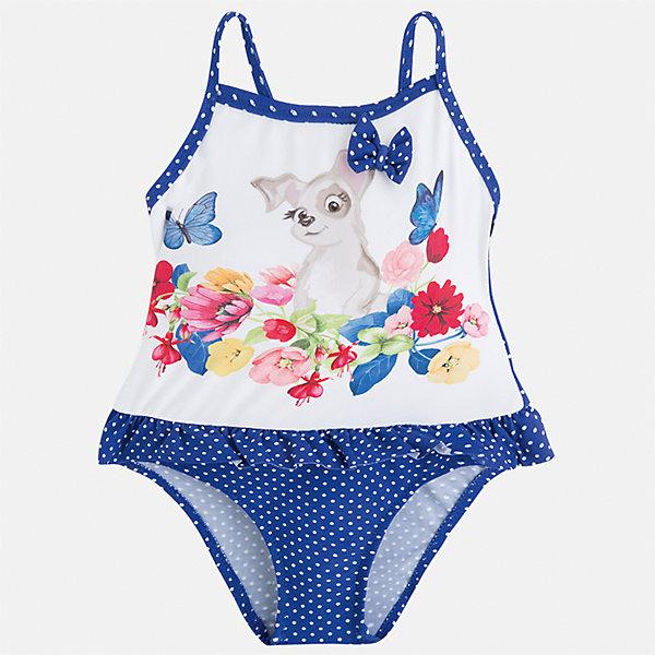 Купальник слитный для девочки MayoralКупальники и плавки<br>Характеристики товара:<br><br>• цвет: белый/синий<br>• состав: верх - 87% полиамид, 13% эластан, подкладка- 100% полиамид<br>• декорирован оборками<br>• с подкладкой<br>• быстросохнущий материал<br>• страна бренда: Испания<br><br>Одежда для купания должна быть удобной! Этот купальник для девочки не только хорошо сидит на ребенке, не стесняя движения и не натирая, он отлично смотрится! Предметы сшиты из плотной ткани, но она очень быстро высыхает. Интересная отделка модели делает её нарядной и оригинальной. <br><br>Одежда, обувь и аксессуары от испанского бренда Mayoral полюбились детям и взрослым по всему миру. Модели этой марки - стильные и удобные. Для их производства используются только безопасные, качественные материалы и фурнитура. Порадуйте ребенка модными и красивыми вещами от Mayoral! <br><br>Купальник для девочки от испанского бренда Mayoral (Майорал) можно купить в нашем интернет-магазине.<br>Ширина мм: 183; Глубина мм: 60; Высота мм: 135; Вес г: 119; Цвет: синий; Возраст от месяцев: 18; Возраст до месяцев: 24; Пол: Женский; Возраст: Детский; Размер: 92,122,116,110,104,98; SKU: 5290818;