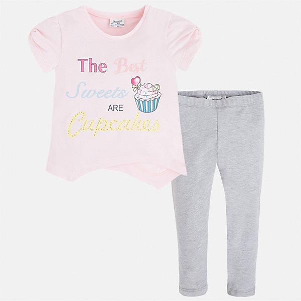 Комплект: футболка и леггинсы для девочки MayoralКомплекты<br>Характеристики товара:<br><br>• цвет: розовый/серый<br>• состав: 57% хлопок, 38% полиэстер, 5% эластан<br>• комплектация: футболка, леггинсы<br>• футболка декорирована принтом<br>• леггинсы однотонные<br>• пояс на резинке<br>• страна бренда: Испания<br><br>Стильный качественный комплект для девочки поможет разнообразить гардероб ребенка и удобно одеться в теплую погоду. Он отлично сочетается с другими предметами. Универсальный цвет позволяет подобрать к вещам верхнюю одежду практически любой расцветки. Интересная отделка модели делает её нарядной и оригинальной. В составе материала - натуральный хлопок, гипоаллергенный, приятный на ощупь, дышащий.<br><br>Одежда, обувь и аксессуары от испанского бренда Mayoral полюбились детям и взрослым по всему миру. Модели этой марки - стильные и удобные. Для их производства используются только безопасные, качественные материалы и фурнитура. Порадуйте ребенка модными и красивыми вещами от Mayoral! <br><br>Комплект для девочки от испанского бренда Mayoral (Майорал) можно купить в нашем интернет-магазине.<br><br>Ширина мм: 123<br>Глубина мм: 10<br>Высота мм: 149<br>Вес г: 209<br>Цвет: серый<br>Возраст от месяцев: 18<br>Возраст до месяцев: 24<br>Пол: Женский<br>Возраст: Детский<br>Размер: 92,134,128,122,116,110,104,98<br>SKU: 5290825