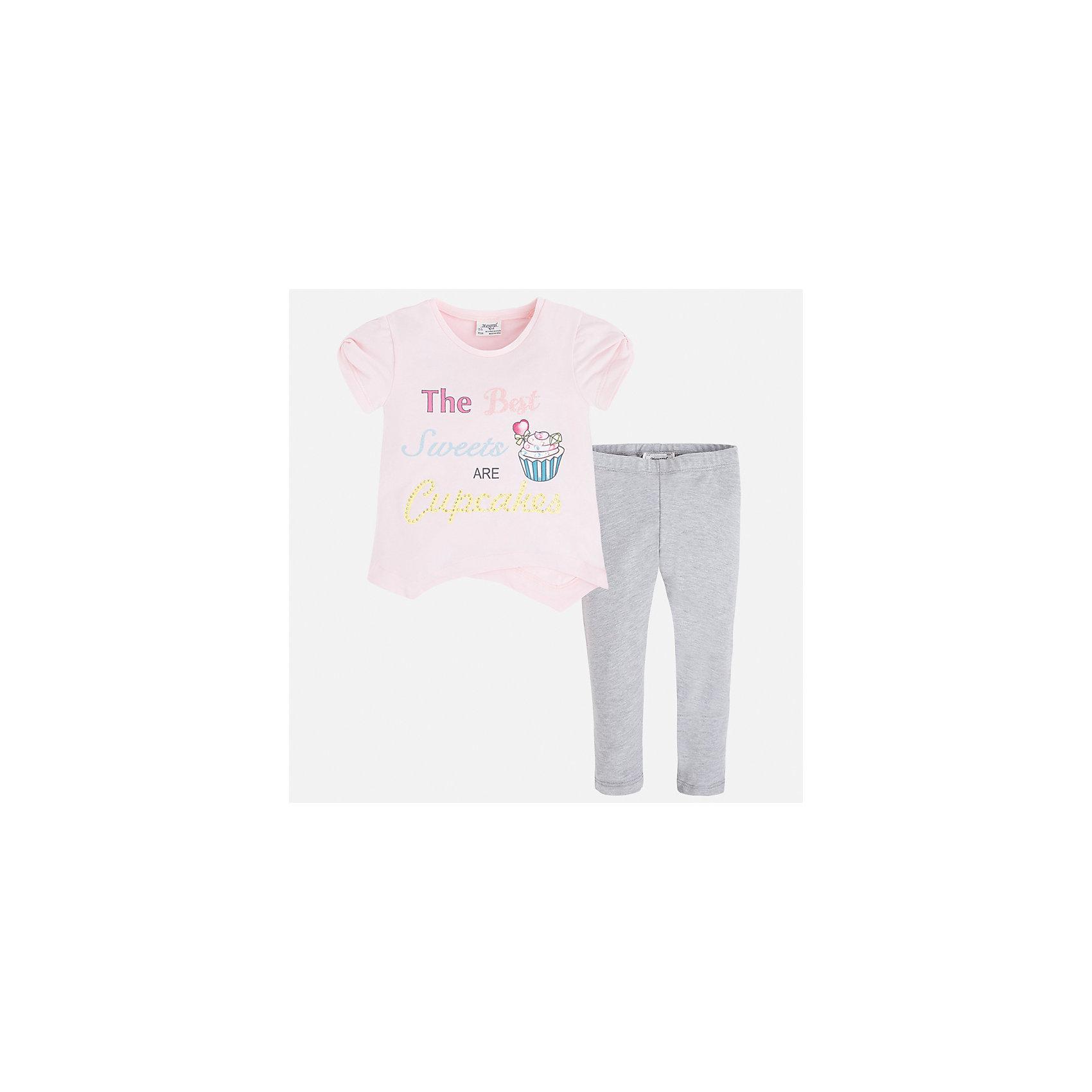 Комплект: футболка и леггинсы для девочки MayoralКомплекты<br>Характеристики товара:<br><br>• цвет: розовый/серый<br>• состав: 57% хлопок, 38% полиэстер, 5% эластан<br>• комплектация: футболка, леггинсы<br>• футболка декорирована принтом<br>• леггинсы однотонные<br>• пояс на резинке<br>• страна бренда: Испания<br><br>Стильный качественный комплект для девочки поможет разнообразить гардероб ребенка и удобно одеться в теплую погоду. Он отлично сочетается с другими предметами. Универсальный цвет позволяет подобрать к вещам верхнюю одежду практически любой расцветки. Интересная отделка модели делает её нарядной и оригинальной. В составе материала - натуральный хлопок, гипоаллергенный, приятный на ощупь, дышащий.<br><br>Одежда, обувь и аксессуары от испанского бренда Mayoral полюбились детям и взрослым по всему миру. Модели этой марки - стильные и удобные. Для их производства используются только безопасные, качественные материалы и фурнитура. Порадуйте ребенка модными и красивыми вещами от Mayoral! <br><br>Комплект для девочки от испанского бренда Mayoral (Майорал) можно купить в нашем интернет-магазине.<br><br>Ширина мм: 123<br>Глубина мм: 10<br>Высота мм: 149<br>Вес г: 209<br>Цвет: серый<br>Возраст от месяцев: 96<br>Возраст до месяцев: 108<br>Пол: Женский<br>Возраст: Детский<br>Размер: 134,92,98,104,110,116,122,128<br>SKU: 5290825