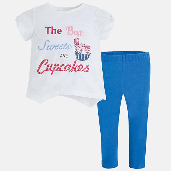 Комплект: футбола с длинным рукавом и леггинсы для девочки MayoralКомплекты<br>Характеристики товара:<br><br>• цвет: белый/голубой<br>• состав: 57% хлопок, 38% полиэстер, 5% эластан<br>• комплектация: футболка, леггинсы<br>• футболка декорирована принтом<br>• леггинсы однотонные<br>• пояс на резинке<br>• страна бренда: Испания<br><br>Стильный качественный комплект для девочки поможет разнообразить гардероб ребенка и удобно одеться в теплую погоду. Он отлично сочетается с другими предметами. Универсальный цвет позволяет подобрать к вещам верхнюю одежду практически любой расцветки. Интересная отделка модели делает её нарядной и оригинальной. В составе материала - натуральный хлопок, гипоаллергенный, приятный на ощупь, дышащий.<br><br>Одежда, обувь и аксессуары от испанского бренда Mayoral полюбились детям и взрослым по всему миру. Модели этой марки - стильные и удобные. Для их производства используются только безопасные, качественные материалы и фурнитура. Порадуйте ребенка модными и красивыми вещами от Mayoral! <br><br>Комплект для девочки от испанского бренда Mayoral (Майорал) можно купить в нашем интернет-магазине.<br><br>Ширина мм: 123<br>Глубина мм: 10<br>Высота мм: 149<br>Вес г: 209<br>Цвет: синий<br>Возраст от месяцев: 60<br>Возраст до месяцев: 72<br>Пол: Женский<br>Возраст: Детский<br>Размер: 116,104,98,92,110,134,128,122<br>SKU: 5290834