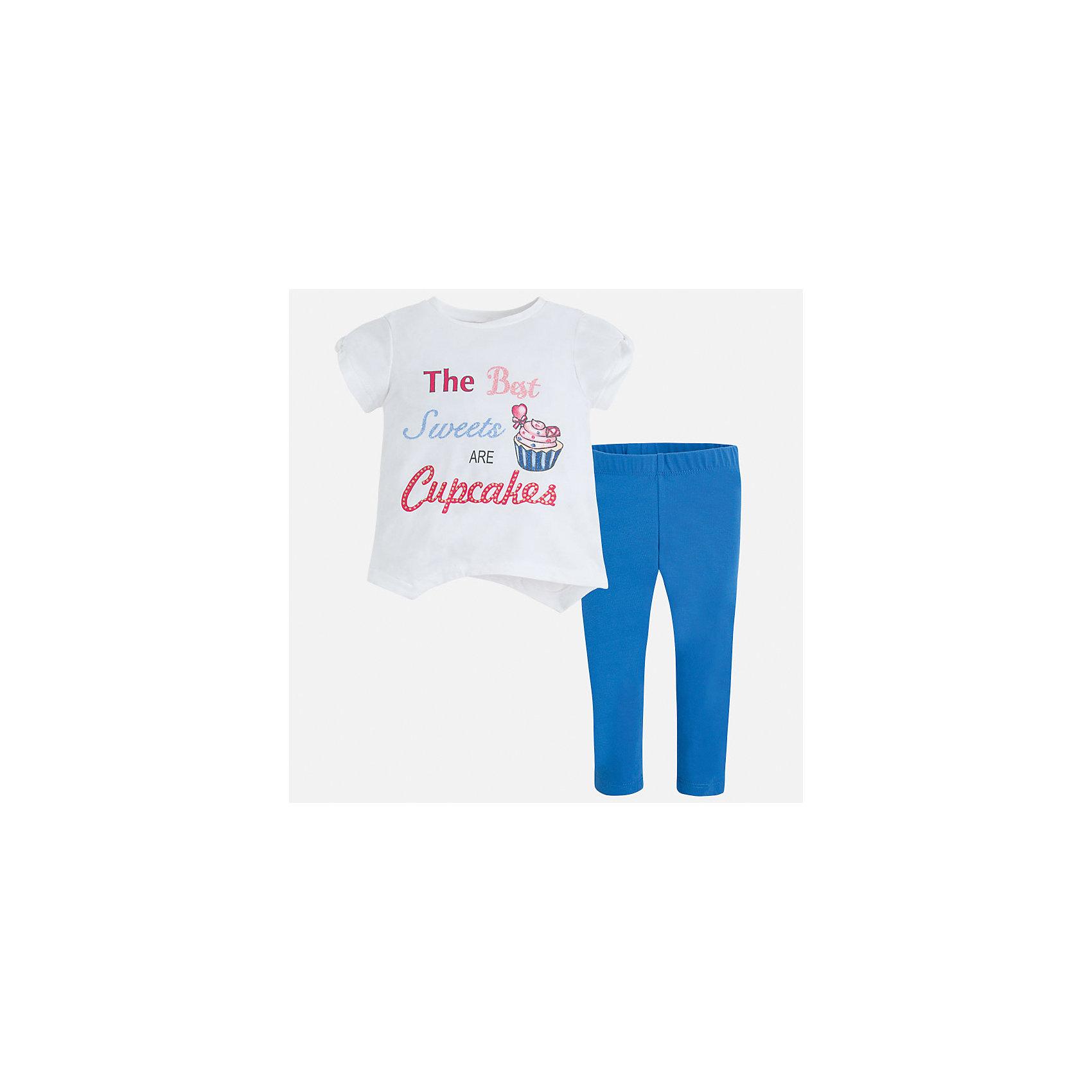 Комплект: футбола с длинным рукавом и леггинсы для девочки MayoralХарактеристики товара:<br><br>• цвет: белый/голубой<br>• состав: 57% хлопок, 38% полиэстер, 5% эластан<br>• комплектация: футболка, леггинсы<br>• футболка декорирована принтом<br>• леггинсы однотонные<br>• пояс на резинке<br>• страна бренда: Испания<br><br>Стильный качественный комплект для девочки поможет разнообразить гардероб ребенка и удобно одеться в теплую погоду. Он отлично сочетается с другими предметами. Универсальный цвет позволяет подобрать к вещам верхнюю одежду практически любой расцветки. Интересная отделка модели делает её нарядной и оригинальной. В составе материала - натуральный хлопок, гипоаллергенный, приятный на ощупь, дышащий.<br><br>Одежда, обувь и аксессуары от испанского бренда Mayoral полюбились детям и взрослым по всему миру. Модели этой марки - стильные и удобные. Для их производства используются только безопасные, качественные материалы и фурнитура. Порадуйте ребенка модными и красивыми вещами от Mayoral! <br><br>Комплект для девочки от испанского бренда Mayoral (Майорал) можно купить в нашем интернет-магазине.<br><br>Ширина мм: 123<br>Глубина мм: 10<br>Высота мм: 149<br>Вес г: 209<br>Цвет: синий<br>Возраст от месяцев: 96<br>Возраст до месяцев: 108<br>Пол: Женский<br>Возраст: Детский<br>Размер: 134,92,98,104,110,116,122,128<br>SKU: 5290834