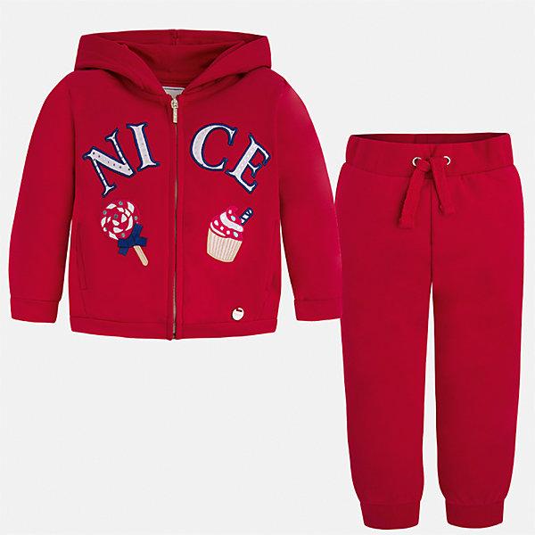 Спортивный костюм для девочки MayoralКомплекты<br>Характеристики товара:<br><br>• цвет: красный<br>• состав: 58% хлопок, 39% полиэстер, 3% эластан<br>• комплектация: курточка, штаны<br>• куртка декорирована принтом<br>• карманы<br>• капюшон<br>• штаны однотонные<br>• пояс на шнурке<br>• манжеты<br>• страна бренда: Испания<br><br>Стильный качественный спортивный костюм для девочки поможет разнообразить гардероб ребенка и удобно одеться в теплую погоду. Курточка и штаны отлично сочетаются с другими предметами. Универсальный цвет позволяет подобрать к вещам верхнюю одежду практически любой расцветки. Интересная отделка модели делает её нарядной и оригинальной. В составе материала - натуральный хлопок, гипоаллергенный, приятный на ощупь, дышащий.<br><br>Одежда, обувь и аксессуары от испанского бренда Mayoral полюбились детям и взрослым по всему миру. Модели этой марки - стильные и удобные. Для их производства используются только безопасные, качественные материалы и фурнитура. Порадуйте ребенка модными и красивыми вещами от Mayoral! <br><br>Спортивный костюм для девочки от испанского бренда Mayoral (Майорал) можно купить в нашем интернет-магазине.<br><br>Ширина мм: 247<br>Глубина мм: 16<br>Высота мм: 140<br>Вес г: 225<br>Цвет: красный<br>Возраст от месяцев: 18<br>Возраст до месяцев: 24<br>Пол: Женский<br>Возраст: Детский<br>Размер: 92,134,128,122,116,110,104,98<br>SKU: 5290851