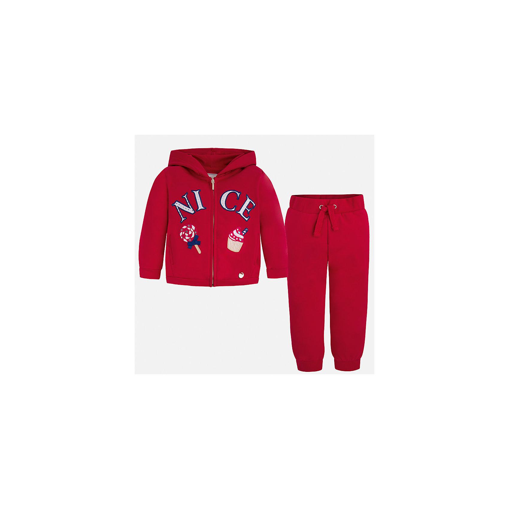 Спортивный костюм для девочки MayoralКомплекты<br>Характеристики товара:<br><br>• цвет: красный<br>• состав: 58% хлопок, 39% полиэстер, 3% эластан<br>• комплектация: курточка, штаны<br>• куртка декорирована принтом<br>• карманы<br>• капюшон<br>• штаны однотонные<br>• пояс на шнурке<br>• манжеты<br>• страна бренда: Испания<br><br>Стильный качественный спортивный костюм для девочки поможет разнообразить гардероб ребенка и удобно одеться в теплую погоду. Курточка и штаны отлично сочетаются с другими предметами. Универсальный цвет позволяет подобрать к вещам верхнюю одежду практически любой расцветки. Интересная отделка модели делает её нарядной и оригинальной. В составе материала - натуральный хлопок, гипоаллергенный, приятный на ощупь, дышащий.<br><br>Одежда, обувь и аксессуары от испанского бренда Mayoral полюбились детям и взрослым по всему миру. Модели этой марки - стильные и удобные. Для их производства используются только безопасные, качественные материалы и фурнитура. Порадуйте ребенка модными и красивыми вещами от Mayoral! <br><br>Спортивный костюм для девочки от испанского бренда Mayoral (Майорал) можно купить в нашем интернет-магазине.<br><br>Ширина мм: 247<br>Глубина мм: 16<br>Высота мм: 140<br>Вес г: 225<br>Цвет: красный<br>Возраст от месяцев: 18<br>Возраст до месяцев: 24<br>Пол: Женский<br>Возраст: Детский<br>Размер: 92,134,98,104,110,116,122,128<br>SKU: 5290851