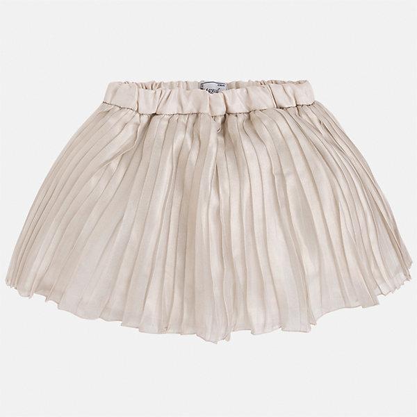 Юбка для девочки MayoralЮбки<br>Характеристики товара:<br><br>• цвет: бежевый<br>• состав: 100% полиэстер, подкладка - 65% полиэстер, 35% хлопок<br>• пояс на резинке<br>• легкий материал<br>• с подкладкой<br>• плиссированная<br>• страна бренда: Испания<br><br>Легкая юбка для девочки поможет разнообразить гардероб ребенка и создать эффектный наряд. Она отлично сочетаются с майками, футболками, блузками. Красивый оттенок позволяет подобрать к вещи верх разных расцветок. В составе материала подкладки - натуральный хлопок, гипоаллергенный, приятный на ощупь, дышащий. Юбка отлично сидит и не стесняет движения.<br><br>Одежда, обувь и аксессуары от испанского бренда Mayoral полюбились детям и взрослым по всему миру. Модели этой марки - стильные и удобные. Для их производства используются только безопасные, качественные материалы и фурнитура. Порадуйте ребенка модными и красивыми вещами от Mayoral! <br><br>Юбку для девочки от испанского бренда Mayoral (Майорал) можно купить в нашем интернет-магазине.<br>Ширина мм: 207; Глубина мм: 10; Высота мм: 189; Вес г: 183; Цвет: бежевый; Возраст от месяцев: 72; Возраст до месяцев: 84; Пол: Женский; Возраст: Детский; Размер: 134,128,122,116,110,104,98; SKU: 5290904;