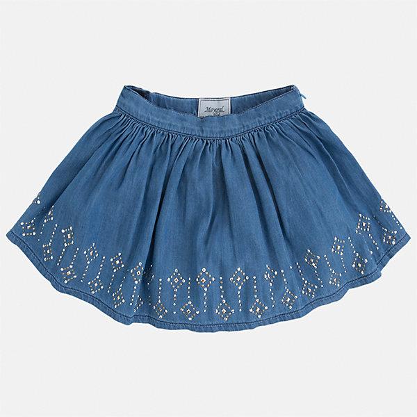 Юбка для девочки MayoralЮбки<br>Характеристики товара:<br><br>• цвет: голубой<br>• состав: 100% хлопок<br>• застежка: молния<br>• пышная<br>• украшена стразами<br>• страна бренда: Испания<br><br>Легкая юбка для девочки поможет разнообразить гардероб ребенка и создать эффектный наряд. Она отлично сочетаются с майками, футболками, блузками. Красивый оттенок позволяет подобрать к вещи верх разных расцветок. В составе материала - натуральный хлопок, гипоаллергенный, приятный на ощупь, дышащий. Юбка отлично сидит и не стесняет движения.<br><br>Одежда, обувь и аксессуары от испанского бренда Mayoral полюбились детям и взрослым по всему миру. Модели этой марки - стильные и удобные. Для их производства используются только безопасные, качественные материалы и фурнитура. Порадуйте ребенка модными и красивыми вещами от Mayoral! <br><br>Юбку для девочки от испанского бренда Mayoral (Майорал) можно купить в нашем интернет-магазине.<br><br>Ширина мм: 207<br>Глубина мм: 10<br>Высота мм: 189<br>Вес г: 183<br>Цвет: голубой<br>Возраст от месяцев: 18<br>Возраст до месяцев: 24<br>Пол: Женский<br>Возраст: Детский<br>Размер: 128,122,116,110,104,98,92,134<br>SKU: 5290930
