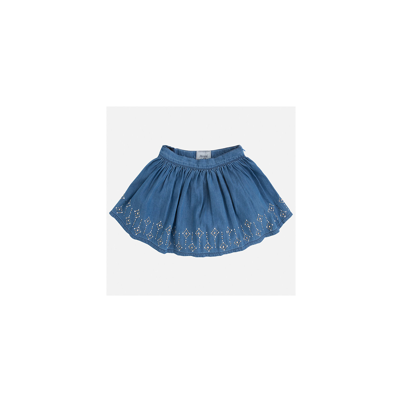 Юбка для девочки MayoralЮбки<br>Характеристики товара:<br><br>• цвет: голубой<br>• состав: 100% хлопок<br>• застежка: молния<br>• пышная<br>• украшена стразами<br>• страна бренда: Испания<br><br>Легкая юбка для девочки поможет разнообразить гардероб ребенка и создать эффектный наряд. Она отлично сочетаются с майками, футболками, блузками. Красивый оттенок позволяет подобрать к вещи верх разных расцветок. В составе материала - натуральный хлопок, гипоаллергенный, приятный на ощупь, дышащий. Юбка отлично сидит и не стесняет движения.<br><br>Одежда, обувь и аксессуары от испанского бренда Mayoral полюбились детям и взрослым по всему миру. Модели этой марки - стильные и удобные. Для их производства используются только безопасные, качественные материалы и фурнитура. Порадуйте ребенка модными и красивыми вещами от Mayoral! <br><br>Юбку для девочки от испанского бренда Mayoral (Майорал) можно купить в нашем интернет-магазине.<br><br>Ширина мм: 207<br>Глубина мм: 10<br>Высота мм: 189<br>Вес г: 183<br>Цвет: голубой<br>Возраст от месяцев: 96<br>Возраст до месяцев: 108<br>Пол: Женский<br>Возраст: Детский<br>Размер: 134,92,98,104,110,116,122,128<br>SKU: 5290930