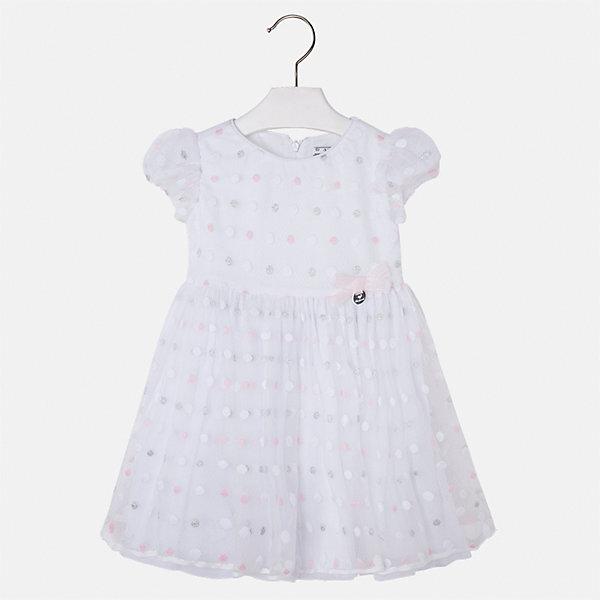Платье для девочки MayoralЛетние платья и сарафаны<br>Характеристики товара:<br><br>• цвет: белый<br>• состав: 50% полиэстер, 50% полиамид, подкладка - 65% полиэстер, 35% хлопок<br>• застежка: молния<br>• легкий материал<br>• украшено бантом<br>• пышные рукава<br>• с подкладкой<br>• верхний слой - в горошек<br>• страна бренда: Испания<br><br>Красивое легкое платье для девочки поможет разнообразить гардероб ребенка и создать эффектный наряд. Оно подойдет и для торжественных случаев, может быть и как ежедневный наряд. Красивый оттенок позволяет подобрать к вещи обувь разных расцветок. В составе материала подкладки - натуральный хлопок, гипоаллергенный, приятный на ощупь, дышащий. Платье хорошо сидит по фигуре.<br><br>Одежда, обувь и аксессуары от испанского бренда Mayoral полюбились детям и взрослым по всему миру. Модели этой марки - стильные и удобные. Для их производства используются только безопасные, качественные материалы и фурнитура. Порадуйте ребенка модными и красивыми вещами от Mayoral! <br><br>Платье для девочки от испанского бренда Mayoral (Майорал) можно купить в нашем интернет-магазине.<br><br>Ширина мм: 236<br>Глубина мм: 16<br>Высота мм: 184<br>Вес г: 177<br>Цвет: лиловый<br>Возраст от месяцев: 96<br>Возраст до месяцев: 108<br>Пол: Женский<br>Возраст: Детский<br>Размер: 134,98,104,110,116,122,128<br>SKU: 5290939