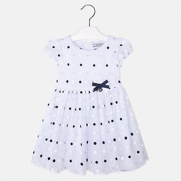 Платье для девочки MayoralОдежда<br>Характеристики товара:<br><br>• цвет: белый<br>• состав: 50% полиэстер, 50% полиамид, подкладка - 65% полиэстер, 35% хлопок<br>• застежка: молния<br>• легкий материал<br>• украшено бантом<br>• пышные рукава<br>• с подкладкой<br>• верхний слой - в горошек<br>• страна бренда: Испания<br><br>Красивое легкое платье для девочки поможет разнообразить гардероб ребенка и создать эффектный наряд. Оно подойдет и для торжественных случаев, может быть и как ежедневный наряд. Красивый оттенок позволяет подобрать к вещи обувь разных расцветок. В составе материала подкладки - натуральный хлопок, гипоаллергенный, приятный на ощупь, дышащий. Платье хорошо сидит по фигуре.<br><br>Одежда, обувь и аксессуары от испанского бренда Mayoral полюбились детям и взрослым по всему миру. Модели этой марки - стильные и удобные. Для их производства используются только безопасные, качественные материалы и фурнитура. Порадуйте ребенка модными и красивыми вещами от Mayoral! <br><br>Платье для девочки от испанского бренда Mayoral (Майорал) можно купить в нашем интернет-магазине.<br>Ширина мм: 236; Глубина мм: 16; Высота мм: 184; Вес г: 177; Цвет: синий; Возраст от месяцев: 96; Возраст до месяцев: 108; Пол: Женский; Возраст: Детский; Размер: 134,98,104,110,116,122,128; SKU: 5290947;