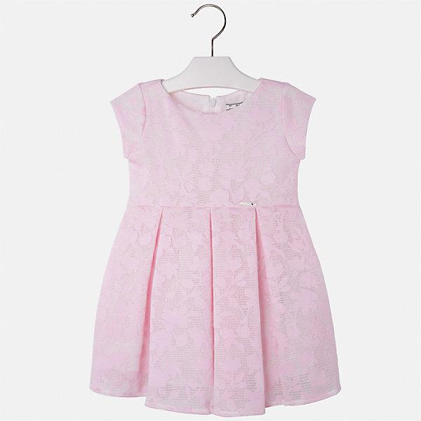 Платье для девочки MayoralОдежда<br>Характеристики товара:<br><br>• цвет: розовый<br>• состав: 64% полиэстер, 36% вискоза, подкладка - 80% полиэстер, 20% хлопок<br>• застежка: молния<br>• легкий материал<br>• набивной рисунок<br>• короткие рукава<br>• с подкладкой<br>• страна бренда: Испания<br><br>Красивое легкое платье для девочки поможет разнообразить гардероб ребенка и создать эффектный наряд. Оно подойдет и для торжественных случаев, может быть и как ежедневный наряд. Красивый оттенок позволяет подобрать к вещи обувь разных расцветок. В составе материала подкладки - натуральный хлопок, гипоаллергенный, приятный на ощупь, дышащий. Платье хорошо сидит по фигуре.<br><br>Одежда, обувь и аксессуары от испанского бренда Mayoral полюбились детям и взрослым по всему миру. Модели этой марки - стильные и удобные. Для их производства используются только безопасные, качественные материалы и фурнитура. Порадуйте ребенка модными и красивыми вещами от Mayoral! <br><br>Платье для девочки от испанского бренда Mayoral (Майорал) можно купить в нашем интернет-магазине.<br><br>Ширина мм: 236<br>Глубина мм: 16<br>Высота мм: 184<br>Вес г: 177<br>Цвет: розовый<br>Возраст от месяцев: 24<br>Возраст до месяцев: 36<br>Пол: Женский<br>Возраст: Детский<br>Размер: 98,134,128,122,116,110,104<br>SKU: 5290991