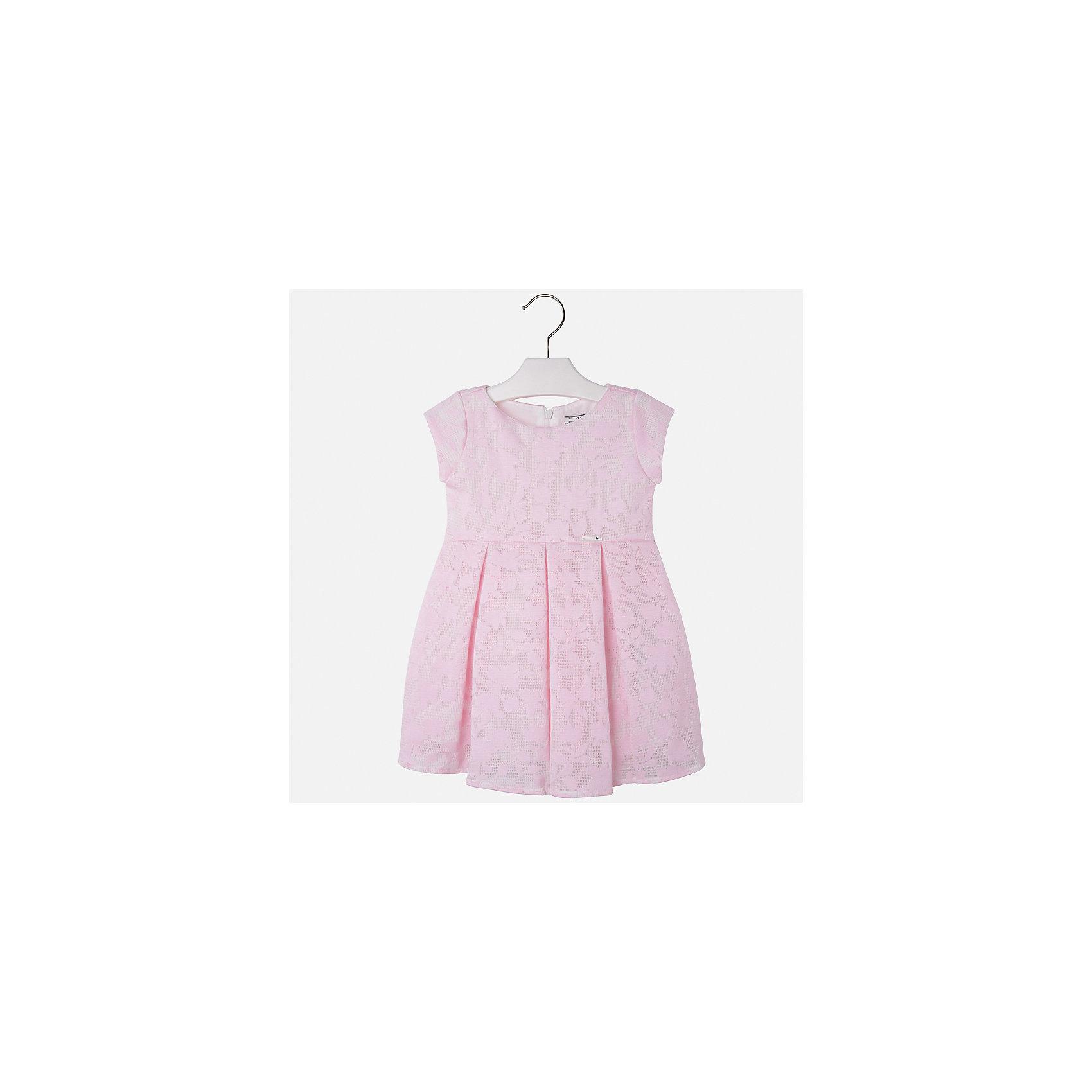 Платье для девочки MayoralОдежда<br>Характеристики товара:<br><br>• цвет: розовый<br>• состав: 64% полиэстер, 36% вискоза, подкладка - 80% полиэстер, 20% хлопок<br>• застежка: молния<br>• легкий материал<br>• набивной рисунок<br>• короткие рукава<br>• с подкладкой<br>• страна бренда: Испания<br><br>Красивое легкое платье для девочки поможет разнообразить гардероб ребенка и создать эффектный наряд. Оно подойдет и для торжественных случаев, может быть и как ежедневный наряд. Красивый оттенок позволяет подобрать к вещи обувь разных расцветок. В составе материала подкладки - натуральный хлопок, гипоаллергенный, приятный на ощупь, дышащий. Платье хорошо сидит по фигуре.<br><br>Одежда, обувь и аксессуары от испанского бренда Mayoral полюбились детям и взрослым по всему миру. Модели этой марки - стильные и удобные. Для их производства используются только безопасные, качественные материалы и фурнитура. Порадуйте ребенка модными и красивыми вещами от Mayoral! <br><br>Платье для девочки от испанского бренда Mayoral (Майорал) можно купить в нашем интернет-магазине.<br><br>Ширина мм: 236<br>Глубина мм: 16<br>Высота мм: 184<br>Вес г: 177<br>Цвет: розовый<br>Возраст от месяцев: 96<br>Возраст до месяцев: 108<br>Пол: Женский<br>Возраст: Детский<br>Размер: 98,104,110,116,122,128,134<br>SKU: 5290991