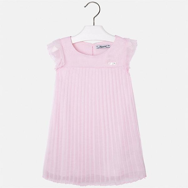 Платье для девочки MayoralОдежда<br>Характеристики товара:<br><br>• цвет: розовый<br>• состав: 100% полиэстер, подкладка - 65% полиэстер, 35% хлопок<br>• застежка: молния<br>• складки<br>• завышенная талия<br>• без рукавов<br>• с подкладкой<br>• страна бренда: Испания<br><br>Нарядное платье для девочки поможет разнообразить гардероб ребенка и создать эффектный наряд. Оно подойдет для торжественных случаев. Красивый оттенок позволяет подобрать к вещи обувь разных расцветок. В составе материала подкладки - натуральный хлопок, гипоаллергенный, приятный на ощупь, дышащий. Платье хорошо сидит по фигуре.<br><br>Одежда, обувь и аксессуары от испанского бренда Mayoral полюбились детям и взрослым по всему миру. Модели этой марки - стильные и удобные. Для их производства используются только безопасные, качественные материалы и фурнитура. Порадуйте ребенка модными и красивыми вещами от Mayoral! <br><br>Платье для девочки от испанского бренда Mayoral (Майорал) можно купить в нашем интернет-магазине.<br>Ширина мм: 236; Глубина мм: 16; Высота мм: 184; Вес г: 177; Цвет: лиловый; Возраст от месяцев: 18; Возраст до месяцев: 24; Пол: Женский; Возраст: Детский; Размер: 92,134,128,122,116,110,104,98; SKU: 5291050;