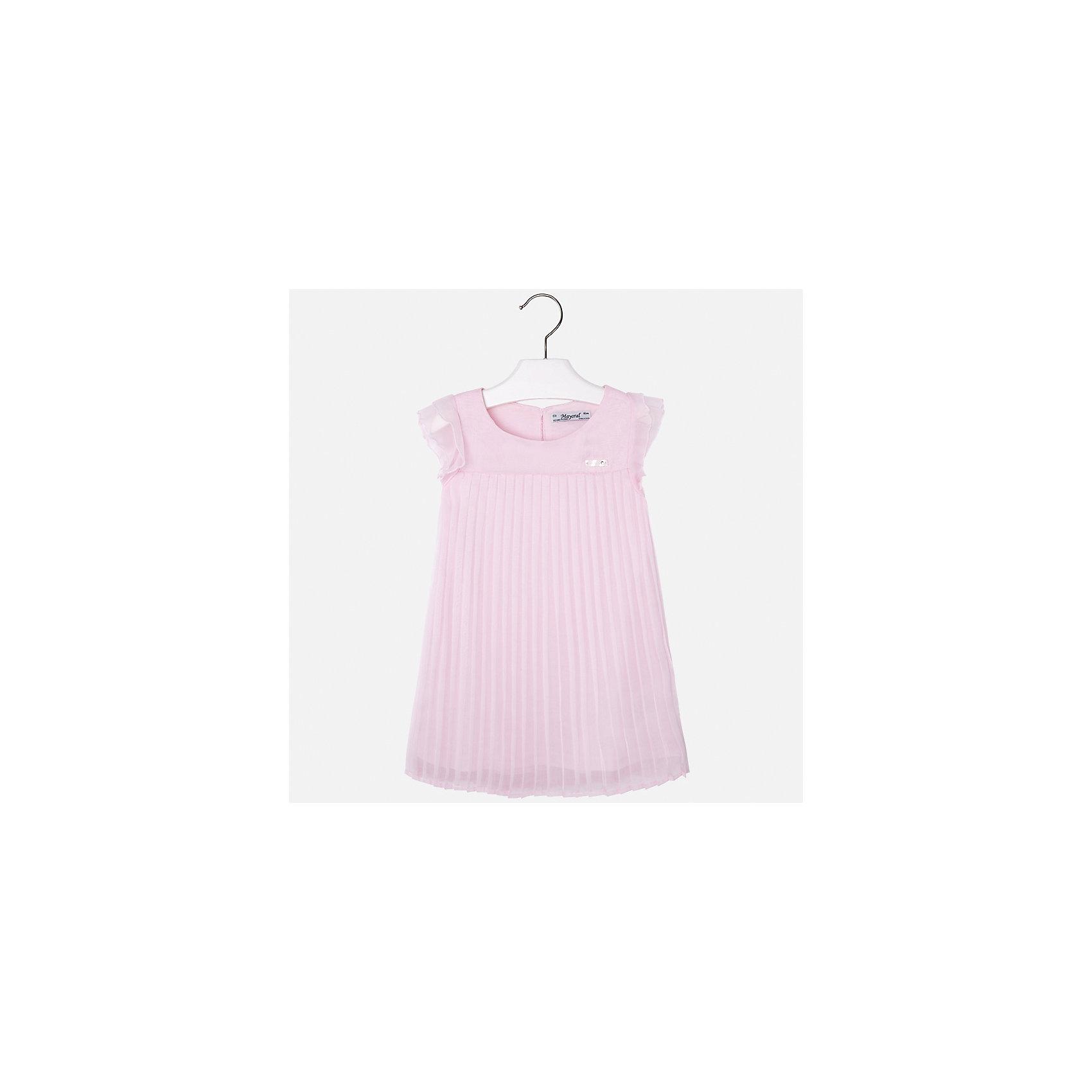 Платье для девочки MayoralОдежда<br>Характеристики товара:<br><br>• цвет: розовый<br>• состав: 100% полиэстер, подкладка - 65% полиэстер, 35% хлопок<br>• застежка: молния<br>• складки<br>• завышенная талия<br>• без рукавов<br>• с подкладкой<br>• страна бренда: Испания<br><br>Нарядное платье для девочки поможет разнообразить гардероб ребенка и создать эффектный наряд. Оно подойдет для торжественных случаев. Красивый оттенок позволяет подобрать к вещи обувь разных расцветок. В составе материала подкладки - натуральный хлопок, гипоаллергенный, приятный на ощупь, дышащий. Платье хорошо сидит по фигуре.<br><br>Одежда, обувь и аксессуары от испанского бренда Mayoral полюбились детям и взрослым по всему миру. Модели этой марки - стильные и удобные. Для их производства используются только безопасные, качественные материалы и фурнитура. Порадуйте ребенка модными и красивыми вещами от Mayoral! <br><br>Платье для девочки от испанского бренда Mayoral (Майорал) можно купить в нашем интернет-магазине.<br><br>Ширина мм: 236<br>Глубина мм: 16<br>Высота мм: 184<br>Вес г: 177<br>Цвет: фиолетовый<br>Возраст от месяцев: 24<br>Возраст до месяцев: 36<br>Пол: Женский<br>Возраст: Детский<br>Размер: 104,98,110,116,122,128,134,92<br>SKU: 5291050