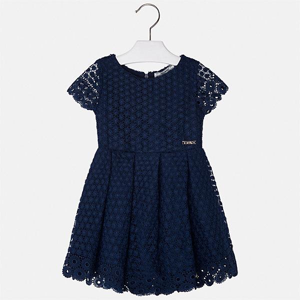Платье для девочки MayoralОдежда<br>Характеристики товара:<br><br>• цвет: темно-синий<br>• состав: 100% полиэстер, подкладка - 80% полиэстер, 20% хлопок<br>• застежка: молния<br>• легкий материал<br>• ажурная ткань верха<br>• короткие рукава<br>• с подкладкой<br>• страна бренда: Испания<br><br>Красивое легкое платье для девочки поможет разнообразить гардероб ребенка и создать эффектный наряд. Оно подойдет и для торжественных случаев, может быть и как ежедневный наряд. Красивый оттенок позволяет подобрать к вещи обувь разных расцветок. В составе материала подкладки - натуральный хлопок, гипоаллергенный, приятный на ощупь, дышащий. Платье хорошо сидит по фигуре.<br><br>Одежда, обувь и аксессуары от испанского бренда Mayoral полюбились детям и взрослым по всему миру. Модели этой марки - стильные и удобные. Для их производства используются только безопасные, качественные материалы и фурнитура. Порадуйте ребенка модными и красивыми вещами от Mayoral! <br><br>Платье для девочки от испанского бренда Mayoral (Майорал) можно купить в нашем интернет-магазине.<br><br>Ширина мм: 236<br>Глубина мм: 16<br>Высота мм: 184<br>Вес г: 177<br>Цвет: синий<br>Возраст от месяцев: 24<br>Возраст до месяцев: 36<br>Пол: Женский<br>Возраст: Детский<br>Размер: 98,134,128,122,116,110,104<br>SKU: 5291076