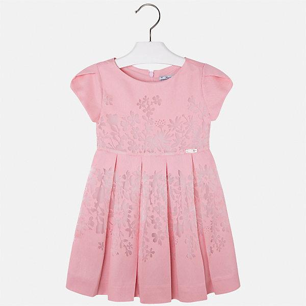 Платье для девочки MayoralОдежда<br>Характеристики товара:<br><br>• цвет: розовый<br>• состав: 80% вискоза, 20% полиэстер, подкладка - 65% полиэстер, 35% хлопок<br>• застежка: молния<br>• легкий материал<br>• цветочный рисунок<br>• без рукавов<br>• с подкладкой<br>• страна бренда: Испания<br><br>Красивое легкое платье для девочки поможет разнообразить гардероб ребенка и создать эффектный наряд. Оно подойдет и для торжественных случаев, может быть и как ежедневный наряд. Красивый оттенок позволяет подобрать к вещи обувь разных расцветок. В составе материала подкладки - натуральный хлопок, гипоаллергенный, приятный на ощупь, дышащий. Платье хорошо сидит по фигуре.<br><br>Одежда, обувь и аксессуары от испанского бренда Mayoral полюбились детям и взрослым по всему миру. Модели этой марки - стильные и удобные. Для их производства используются только безопасные, качественные материалы и фурнитура. Порадуйте ребенка модными и красивыми вещами от Mayoral! <br><br>Платье для девочки от испанского бренда Mayoral (Майорал) можно купить в нашем интернет-магазине.<br><br>Ширина мм: 236<br>Глубина мм: 16<br>Высота мм: 184<br>Вес г: 177<br>Цвет: белый<br>Возраст от месяцев: 72<br>Возраст до месяцев: 84<br>Пол: Женский<br>Возраст: Детский<br>Размер: 122,98,134,128,116,110,104<br>SKU: 5291084