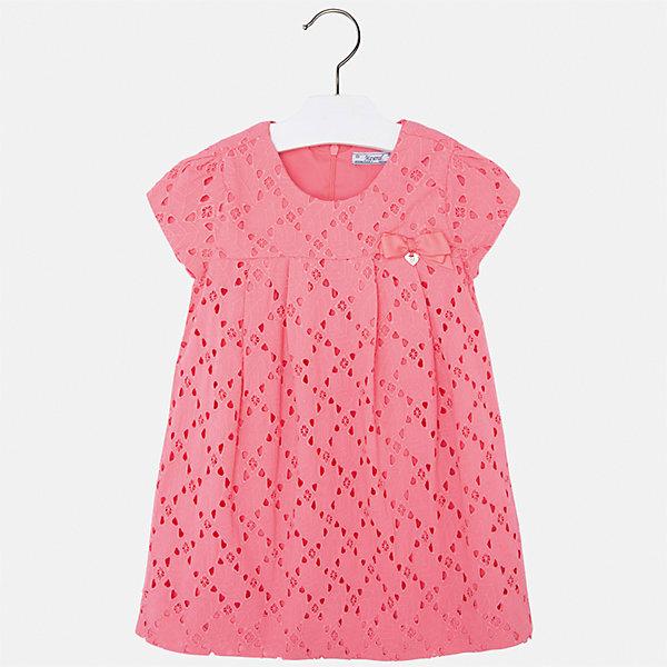 Платье для девочки MayoralОдежда<br>Характеристики товара:<br><br>• цвет: оранжевый<br>• состав: 100% хлопок, подкладка - 65% полиэстер, 35% хлопок<br>• застежка: молния<br>• ажурная ткань верха<br>• завышенная талия<br>• короткие рукава<br>• с подкладкой<br>• страна бренда: Испания<br><br>Нарядное платье для девочки поможет разнообразить гардероб ребенка и создать эффектный наряд. Оно отлично подойдет для торжественных случаев. Красивый оттенок позволяет подобрать к вещи обувь разных расцветок. В составе материала подкладки - натуральный хлопок, гипоаллергенный, приятный на ощупь, дышащий. Платье хорошо сидит по фигуре.<br><br>Одежда, обувь и аксессуары от испанского бренда Mayoral полюбились детям и взрослым по всему миру. Модели этой марки - стильные и удобные. Для их производства используются только безопасные, качественные материалы и фурнитура. Порадуйте ребенка модными и красивыми вещами от Mayoral! <br><br>Платье для девочки от испанского бренда Mayoral (Майорал) можно купить в нашем интернет-магазине.<br><br>Ширина мм: 236<br>Глубина мм: 16<br>Высота мм: 184<br>Вес г: 177<br>Цвет: розовый<br>Возраст от месяцев: 18<br>Возраст до месяцев: 24<br>Пол: Женский<br>Возраст: Детский<br>Размер: 92,134,128,122,116,110,104,98<br>SKU: 5291117