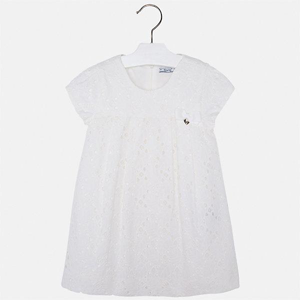 Платье для девочки MayoralОдежда<br>Характеристики товара:<br><br>• цвет: белый<br>• состав: 100% хлопок, подкладка - 65% полиэстер, 35% хлопок<br>• застежка: молния<br>• ажурная ткань верха<br>• завышенная талия<br>• короткие рукава<br>• с подкладкой<br>• страна бренда: Испания<br><br>Нарядное платье для девочки поможет разнообразить гардероб ребенка и создать эффектный наряд. Оно отлично подойдет для торжественных случаев. Красивый оттенок позволяет подобрать к вещи обувь разных расцветок. В составе материала подкладки - натуральный хлопок, гипоаллергенный, приятный на ощупь, дышащий. Платье хорошо сидит по фигуре.<br><br>Одежда, обувь и аксессуары от испанского бренда Mayoral полюбились детям и взрослым по всему миру. Модели этой марки - стильные и удобные. Для их производства используются только безопасные, качественные материалы и фурнитура. Порадуйте ребенка модными и красивыми вещами от Mayoral! <br><br>Платье для девочки от испанского бренда Mayoral (Майорал) можно купить в нашем интернет-магазине.<br><br>Ширина мм: 236<br>Глубина мм: 16<br>Высота мм: 184<br>Вес г: 177<br>Цвет: белый<br>Возраст от месяцев: 18<br>Возраст до месяцев: 24<br>Пол: Женский<br>Возраст: Детский<br>Размер: 92,134,116,122,128,98,104,110<br>SKU: 5291126