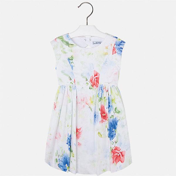 Платье для девочки MayoralПлатья и сарафаны<br>Характеристики товара:<br><br>• цвет: белый принт<br>• состав: 97% хлопок, 3% эластан, подкладка - 65% полиэстер, 35% хлопок<br>• застежка: молния<br>• легкий материал<br>• цветочный рисунок<br>• без рукавов<br>• с подкладкой<br>• страна бренда: Испания<br><br>Красивое легкое платье для девочки поможет разнообразить гардероб ребенка и создать эффектный наряд. Оно подойдет и для торжественных случаев, может быть и как ежедневный наряд. Красивый оттенок позволяет подобрать к вещи обувь разных расцветок. В составе материала подкладки - натуральный хлопок, гипоаллергенный, приятный на ощупь, дышащий. Платье хорошо сидит по фигуре.<br><br>Одежда, обувь и аксессуары от испанского бренда Mayoral полюбились детям и взрослым по всему миру. Модели этой марки - стильные и удобные. Для их производства используются только безопасные, качественные материалы и фурнитура. Порадуйте ребенка модными и красивыми вещами от Mayoral! <br><br>Платье для девочки от испанского бренда Mayoral (Майорал) можно купить в нашем интернет-магазине.<br>Ширина мм: 236; Глубина мм: 16; Высота мм: 184; Вес г: 177; Цвет: синий; Возраст от месяцев: 18; Возраст до месяцев: 24; Пол: Женский; Возраст: Детский; Размер: 92,134,128,122,116,110,104,98; SKU: 5291153;