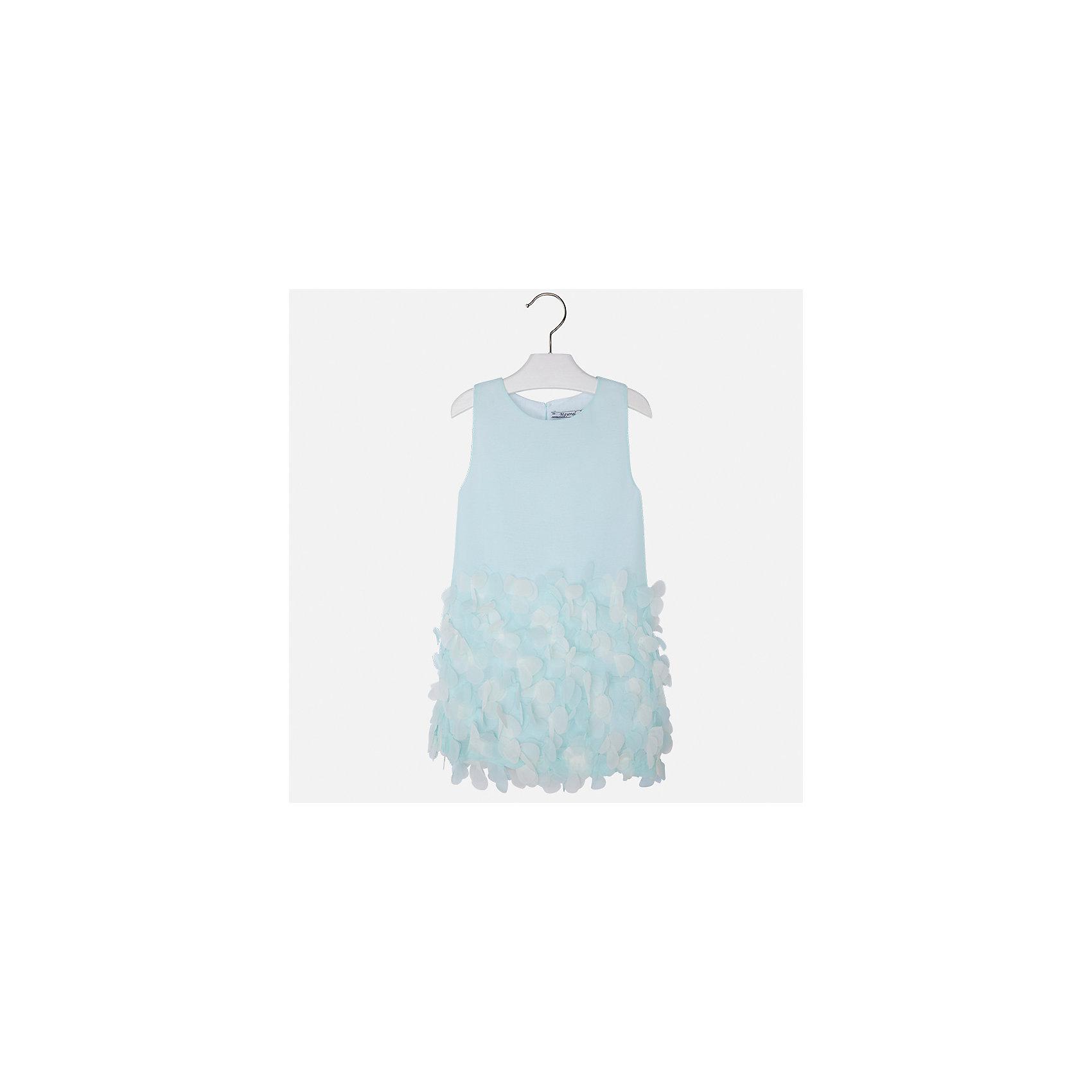 Платье для девочки MayoralХарактеристики товара:<br><br>• цвет: голубой<br>• состав: 100% полиэстер, подкладка - 65% полиэстер, 35% хлопок<br>• застежка: молния<br>• легкий материал<br>• объемные элементы на подоле<br>• без рукавов<br>• с подкладкой<br>• страна бренда: Испания<br><br>Эффектное платье для девочки поможет разнообразить гардероб ребенка и создать эффектный наряд. Оно отлично подойдет и для торжественных случаев. Красивый оттенок позволяет подобрать к вещи обувь разных расцветок. В составе материала подкладки - натуральный хлопок, гипоаллергенный, приятный на ощупь, дышащий. Платье хорошо сидит по фигуре.<br><br>Одежда, обувь и аксессуары от испанского бренда Mayoral полюбились детям и взрослым по всему миру. Модели этой марки - стильные и удобные. Для их производства используются только безопасные, качественные материалы и фурнитура. Порадуйте ребенка модными и красивыми вещами от Mayoral! <br><br>Платье для девочки от испанского бренда Mayoral (Майорал) можно купить в нашем интернет-магазине.<br><br>Ширина мм: 236<br>Глубина мм: 16<br>Высота мм: 184<br>Вес г: 177<br>Цвет: голубой<br>Возраст от месяцев: 96<br>Возраст до месяцев: 108<br>Пол: Женский<br>Возраст: Детский<br>Размер: 98,110,116,122,128,134,104,92<br>SKU: 5291162