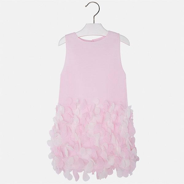 Платье для девочки MayoralОдежда<br>Характеристики товара:<br><br>• цвет: розовый<br>• состав: 100% полиэстер, подкладка - 65% полиэстер, 35% хлопок<br>• застежка: молния<br>• легкий материал<br>• объемные элементы на подоле<br>• без рукавов<br>• с подкладкой<br>• страна бренда: Испания<br><br>Эффектное платье для девочки поможет разнообразить гардероб ребенка и создать эффектный наряд. Оно отлично подойдет и для торжественных случаев. Красивый оттенок позволяет подобрать к вещи обувь разных расцветок. В составе материала подкладки - натуральный хлопок, гипоаллергенный, приятный на ощупь, дышащий. Платье хорошо сидит по фигуре.<br><br>Одежда, обувь и аксессуары от испанского бренда Mayoral полюбились детям и взрослым по всему миру. Модели этой марки - стильные и удобные. Для их производства используются только безопасные, качественные материалы и фурнитура. Порадуйте ребенка модными и красивыми вещами от Mayoral! <br><br>Платье для девочки от испанского бренда Mayoral (Майорал) можно купить в нашем интернет-магазине.<br>Ширина мм: 236; Глубина мм: 16; Высота мм: 184; Вес г: 177; Цвет: розовый; Возраст от месяцев: 18; Возраст до месяцев: 24; Пол: Женский; Возраст: Детский; Размер: 92,134,128,122,116,110,104,98; SKU: 5291171;