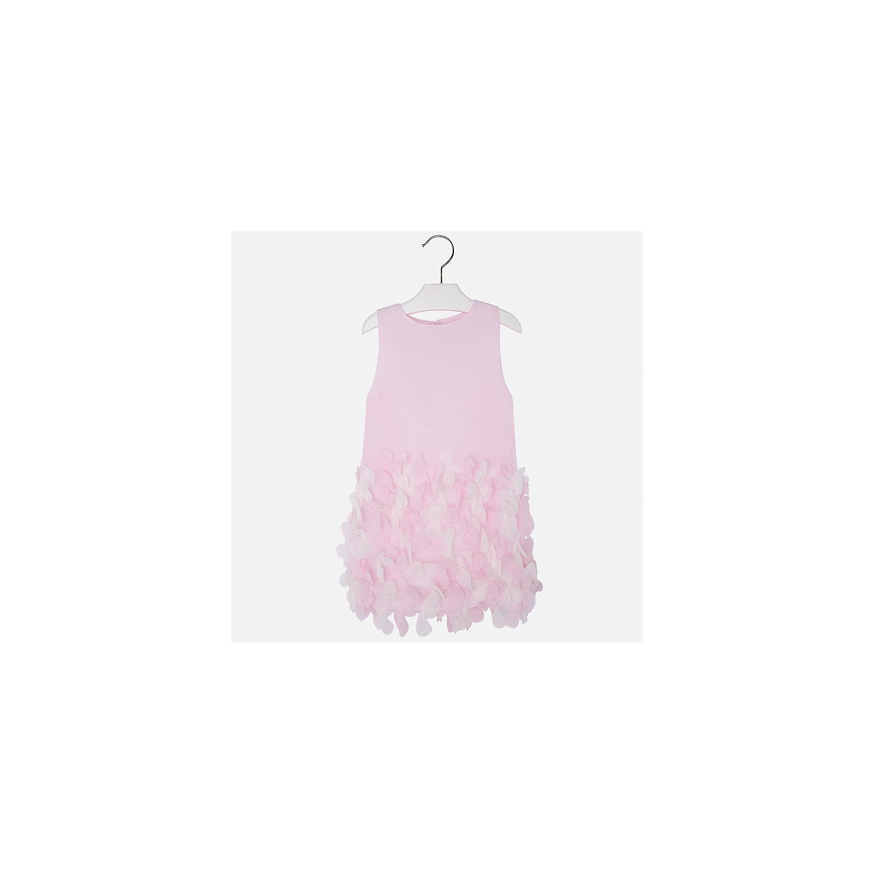 Платье для девочки MayoralОдежда<br>Характеристики товара:<br><br>• цвет: розовый<br>• состав: 100% полиэстер, подкладка - 65% полиэстер, 35% хлопок<br>• застежка: молния<br>• легкий материал<br>• объемные элементы на подоле<br>• без рукавов<br>• с подкладкой<br>• страна бренда: Испания<br><br>Эффектное платье для девочки поможет разнообразить гардероб ребенка и создать эффектный наряд. Оно отлично подойдет и для торжественных случаев. Красивый оттенок позволяет подобрать к вещи обувь разных расцветок. В составе материала подкладки - натуральный хлопок, гипоаллергенный, приятный на ощупь, дышащий. Платье хорошо сидит по фигуре.<br><br>Одежда, обувь и аксессуары от испанского бренда Mayoral полюбились детям и взрослым по всему миру. Модели этой марки - стильные и удобные. Для их производства используются только безопасные, качественные материалы и фурнитура. Порадуйте ребенка модными и красивыми вещами от Mayoral! <br><br>Платье для девочки от испанского бренда Mayoral (Майорал) можно купить в нашем интернет-магазине.<br><br>Ширина мм: 236<br>Глубина мм: 16<br>Высота мм: 184<br>Вес г: 177<br>Цвет: розовый<br>Возраст от месяцев: 96<br>Возраст до месяцев: 108<br>Пол: Женский<br>Возраст: Детский<br>Размер: 134,92,98,104,110,116,122,128<br>SKU: 5291171