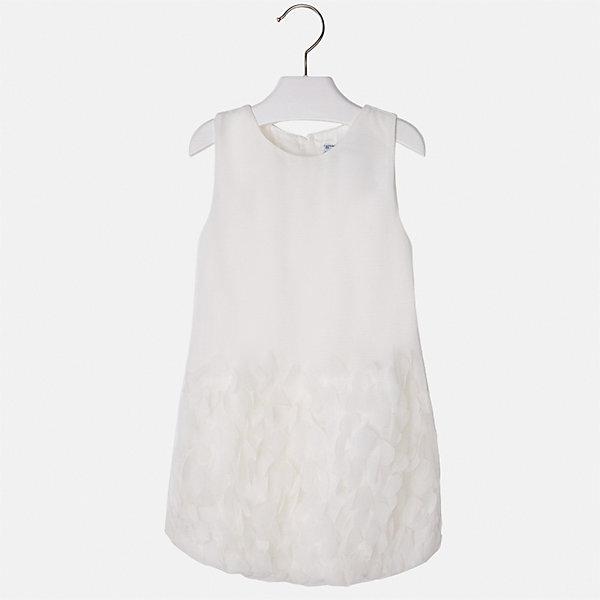 Платье для девочки MayoralОдежда<br>Характеристики товара:<br><br>• цвет: белый<br>• состав: 100% полиэстер, подкладка - 65% полиэстер, 35% хлопок<br>• застежка: молния<br>• легкий материал<br>• объемные элементы на подоле<br>• без рукавов<br>• с подкладкой<br>• страна бренда: Испания<br><br>Эффектное платье для девочки поможет разнообразить гардероб ребенка и создать эффектный наряд. Оно отлично подойдет и для торжественных случаев. Красивый оттенок позволяет подобрать к вещи обувь разных расцветок. В составе материала подкладки - натуральный хлопок, гипоаллергенный, приятный на ощупь, дышащий. Платье хорошо сидит по фигуре.<br><br>Одежда, обувь и аксессуары от испанского бренда Mayoral полюбились детям и взрослым по всему миру. Модели этой марки - стильные и удобные. Для их производства используются только безопасные, качественные материалы и фурнитура. Порадуйте ребенка модными и красивыми вещами от Mayoral! <br><br>Платье для девочки от испанского бренда Mayoral (Майорал) можно купить в нашем интернет-магазине.<br><br>Ширина мм: 236<br>Глубина мм: 16<br>Высота мм: 184<br>Вес г: 177<br>Цвет: белый<br>Возраст от месяцев: 60<br>Возраст до месяцев: 72<br>Пол: Женский<br>Возраст: Детский<br>Размер: 116,110,104,98,92,134,128,122<br>SKU: 5291180