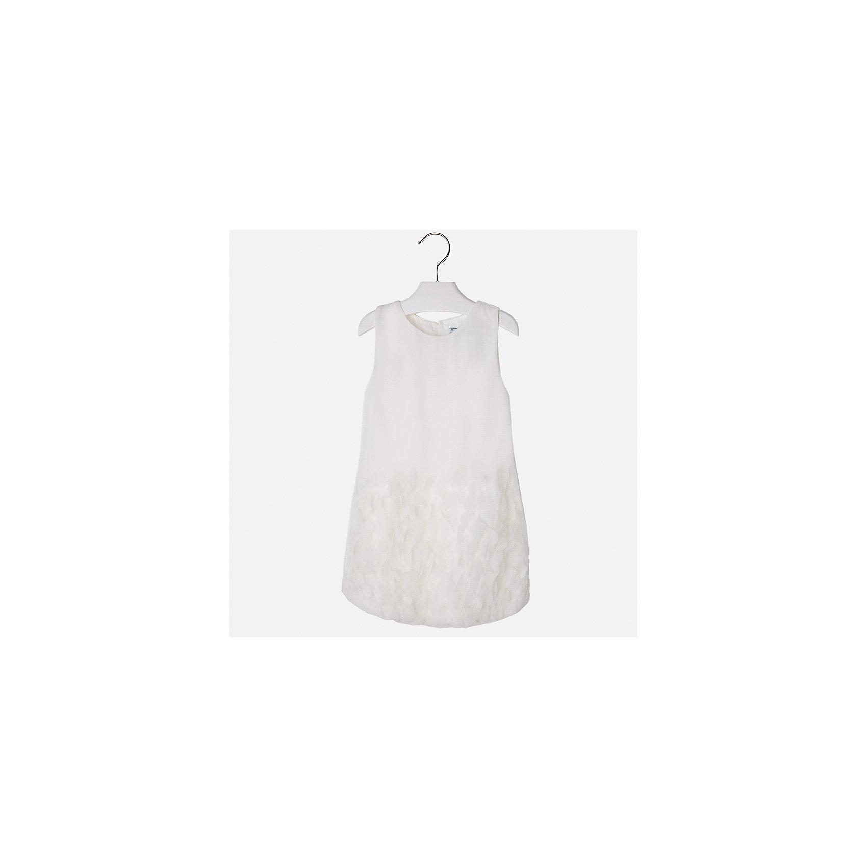Платье для девочки MayoralХарактеристики товара:<br><br>• цвет: белый<br>• состав: 100% полиэстер, подкладка - 65% полиэстер, 35% хлопок<br>• застежка: молния<br>• легкий материал<br>• объемные элементы на подоле<br>• без рукавов<br>• с подкладкой<br>• страна бренда: Испания<br><br>Эффектное платье для девочки поможет разнообразить гардероб ребенка и создать эффектный наряд. Оно отлично подойдет и для торжественных случаев. Красивый оттенок позволяет подобрать к вещи обувь разных расцветок. В составе материала подкладки - натуральный хлопок, гипоаллергенный, приятный на ощупь, дышащий. Платье хорошо сидит по фигуре.<br><br>Одежда, обувь и аксессуары от испанского бренда Mayoral полюбились детям и взрослым по всему миру. Модели этой марки - стильные и удобные. Для их производства используются только безопасные, качественные материалы и фурнитура. Порадуйте ребенка модными и красивыми вещами от Mayoral! <br><br>Платье для девочки от испанского бренда Mayoral (Майорал) можно купить в нашем интернет-магазине.<br><br>Ширина мм: 236<br>Глубина мм: 16<br>Высота мм: 184<br>Вес г: 177<br>Цвет: белый<br>Возраст от месяцев: 96<br>Возраст до месяцев: 108<br>Пол: Женский<br>Возраст: Детский<br>Размер: 134,92,98,104,110,116,122,128<br>SKU: 5291180