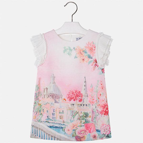 Платье для девочки MayoralПлатья и сарафаны<br>Характеристики товара:<br><br>• цвет: мультиколор<br>• состав: 70% полиэстер, 28% хлопок, 2% эластан, подкладка - 95% хлопок, 5% эластан<br>• застежка: молния<br>• принт<br>• объемные короткие рукава<br>• прямой силуэт<br>• с подкладкой<br>• страна бренда: Испания<br><br>Эффектное платье для девочки поможет разнообразить гардероб ребенка и создать эффектный наряд. Оно отлично подойдет и для торжественных случаев. Красивый оттенок позволяет подобрать к вещи обувь разных расцветок. В составе материала подкладки - натуральный хлопок, гипоаллергенный, приятный на ощупь, дышащий. Платье хорошо сидит по фигуре.<br><br>Одежда, обувь и аксессуары от испанского бренда Mayoral полюбились детям и взрослым по всему миру. Модели этой марки - стильные и удобные. Для их производства используются только безопасные, качественные материалы и фурнитура. Порадуйте ребенка модными и красивыми вещами от Mayoral! <br><br>Платье для девочки от испанского бренда Mayoral (Майорал) можно купить в нашем интернет-магазине.<br><br>Ширина мм: 236<br>Глубина мм: 16<br>Высота мм: 184<br>Вес г: 177<br>Цвет: белый<br>Возраст от месяцев: 96<br>Возраст до месяцев: 108<br>Пол: Женский<br>Возраст: Детский<br>Размер: 134,92,98,104,110,116,122,128<br>SKU: 5291189