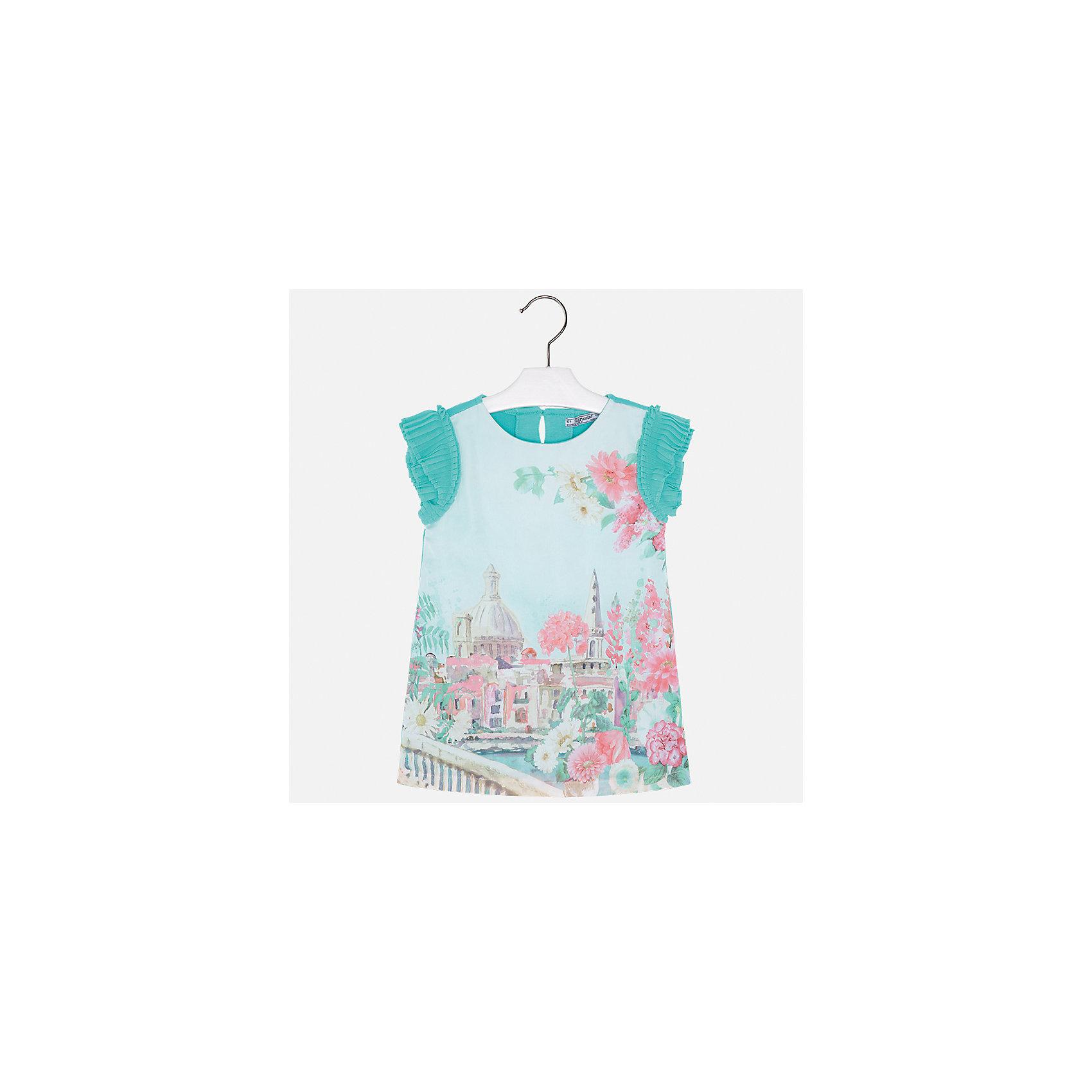 Платье для девочки MayoralПлатья и сарафаны<br>Характеристики товара:<br><br>• цвет: зелёный<br>• состав: 70% полиэстер, 28% хлопок, 2% эластан, подкладка - 95% хлопок, 5% эластан<br>• застежка: молния<br>• принт<br>• объемные короткие рукава<br>• прямой силуэт<br>• с подкладкой<br>• страна бренда: Испания<br><br>Эффектное платье для девочки поможет разнообразить гардероб ребенка и создать эффектный наряд. Оно отлично подойдет и для торжественных случаев. В составе материала подкладки - натуральный хлопок, гипоаллергенный, приятный на ощупь, дышащий. Платье хорошо сидит по фигуре.<br><br>Платье для девочки от испанского бренда Mayoral (Майорал) можно купить в нашем интернет-магазине.<br><br>Ширина мм: 236<br>Глубина мм: 16<br>Высота мм: 184<br>Вес г: 177<br>Цвет: синий<br>Возраст от месяцев: 96<br>Возраст до месяцев: 108<br>Пол: Женский<br>Возраст: Детский<br>Размер: 134,92,98,104,110,116,122,128<br>SKU: 5291198