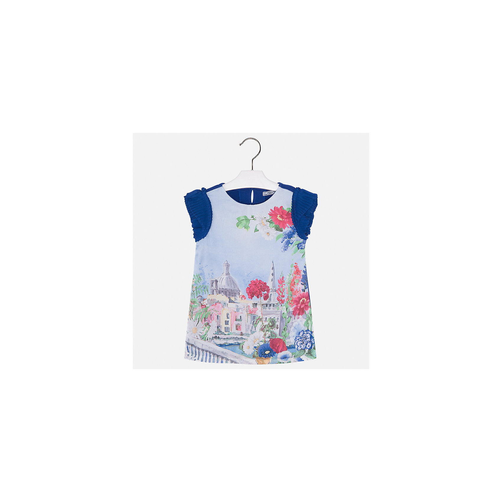 Платье для девочки MayoralЛетние платья и сарафаны<br>Характеристики товара:<br><br>• цвет: синий/голубой<br>• состав: 70% полиэстер, 28% хлопок, 2% эластан, подкладка - 95% хлопок, 5% эластан<br>• застежка: молния<br>• принт<br>• объемные короткие рукава<br>• прямой силуэт<br>• с подкладкой<br>• страна бренда: Испания<br><br>Эффектное платье для девочки поможет разнообразить гардероб ребенка и создать эффектный наряд. Оно отлично подойдет и для торжественных случаев. Красивый оттенок позволяет подобрать к вещи обувь разных расцветок. В составе материала подкладки - натуральный хлопок, гипоаллергенный, приятный на ощупь, дышащий. Платье хорошо сидит по фигуре.<br><br>Одежда, обувь и аксессуары от испанского бренда Mayoral полюбились детям и взрослым по всему миру. Модели этой марки - стильные и удобные. Для их производства используются только безопасные, качественные материалы и фурнитура. Порадуйте ребенка модными и красивыми вещами от Mayoral! <br><br>Платье для девочки от испанского бренда Mayoral (Майорал) можно купить в нашем интернет-магазине.<br><br>Ширина мм: 236<br>Глубина мм: 16<br>Высота мм: 184<br>Вес г: 177<br>Цвет: синий<br>Возраст от месяцев: 96<br>Возраст до месяцев: 108<br>Пол: Женский<br>Возраст: Детский<br>Размер: 134,92,98,104,110,116,122,128<br>SKU: 5291207