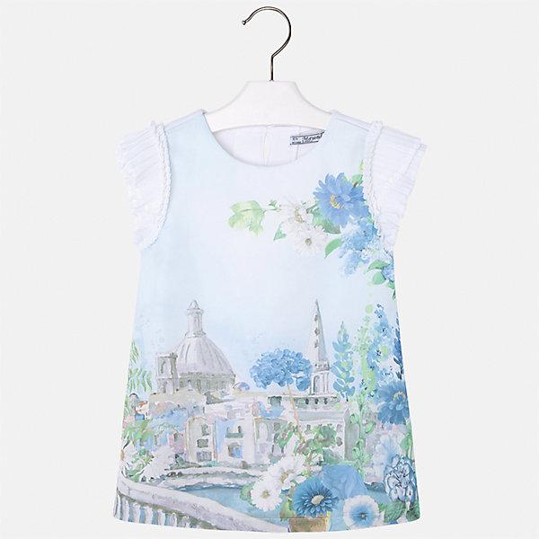 Платье для девочки MayoralПлатья и сарафаны<br>Характеристики товара:<br><br>• цвет: голубой принт<br>• состав: 70% полиэстер, 28% хлопок, 2% эластан, подкладка - 95% хлопок, 5% эластан<br>• застежка: молния<br>• принт<br>• объемные короткие рукава<br>• прямой силуэт<br>• с подкладкой<br>• страна бренда: Испания<br><br>Эффектное платье для девочки поможет разнообразить гардероб ребенка и создать эффектный наряд. Оно отлично подойдет и для торжественных случаев. Красивый оттенок позволяет подобрать к вещи обувь разных расцветок. В составе материала подкладки - натуральный хлопок, гипоаллергенный, приятный на ощупь, дышащий. Платье хорошо сидит по фигуре.<br><br>Одежда, обувь и аксессуары от испанского бренда Mayoral полюбились детям и взрослым по всему миру. Модели этой марки - стильные и удобные. Для их производства используются только безопасные, качественные материалы и фурнитура. Порадуйте ребенка модными и красивыми вещами от Mayoral! <br><br>Платье для девочки от испанского бренда Mayoral (Майорал) можно купить в нашем интернет-магазине.<br><br>Ширина мм: 236<br>Глубина мм: 16<br>Высота мм: 184<br>Вес г: 177<br>Цвет: голубой<br>Возраст от месяцев: 48<br>Возраст до месяцев: 60<br>Пол: Женский<br>Возраст: Детский<br>Размер: 110,104,134,98,128,92,122,116<br>SKU: 5291216