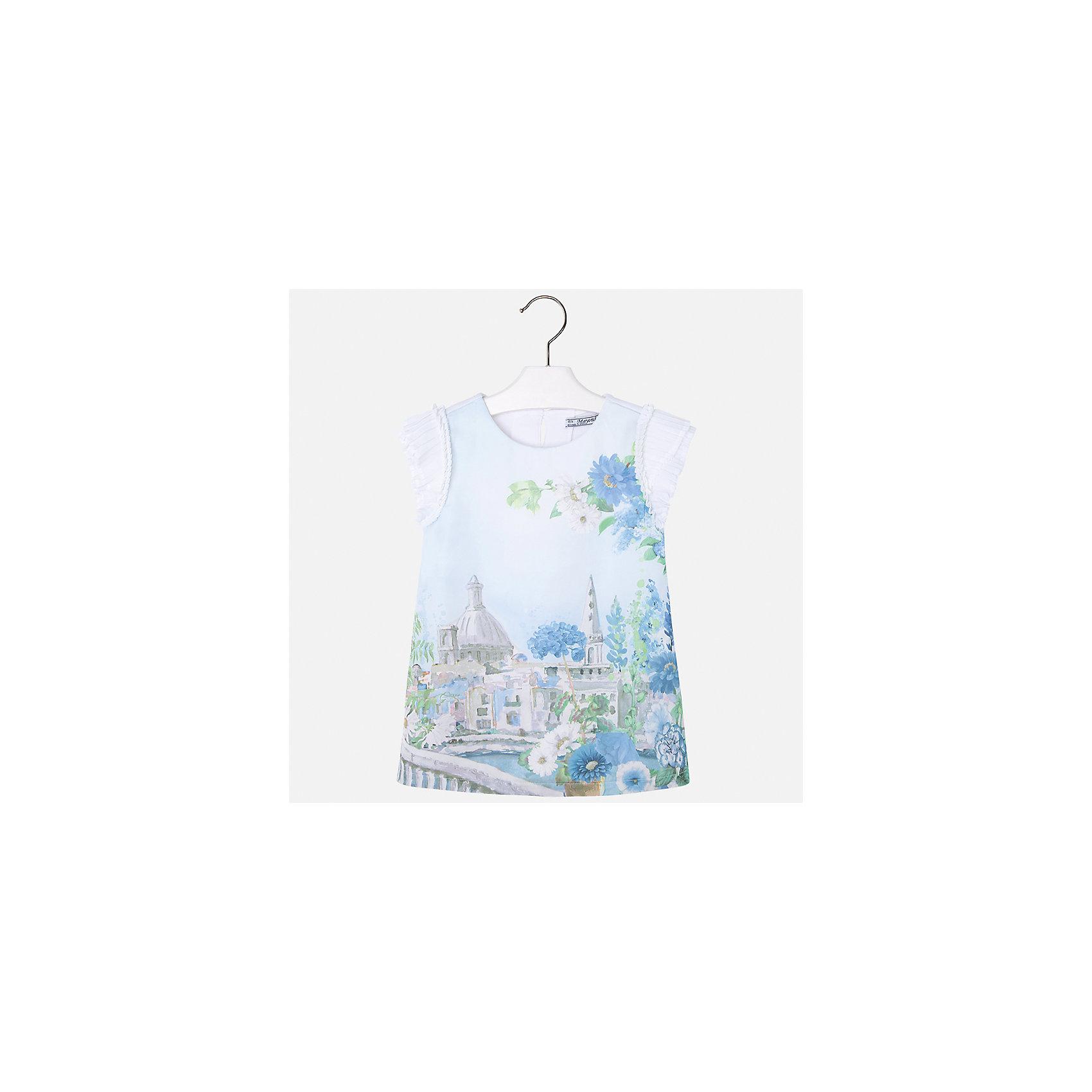 Платье для девочки MayoralПлатья и сарафаны<br>Характеристики товара:<br><br>• цвет: голубой принт<br>• состав: 70% полиэстер, 28% хлопок, 2% эластан, подкладка - 95% хлопок, 5% эластан<br>• застежка: молния<br>• принт<br>• объемные короткие рукава<br>• прямой силуэт<br>• с подкладкой<br>• страна бренда: Испания<br><br>Эффектное платье для девочки поможет разнообразить гардероб ребенка и создать эффектный наряд. Оно отлично подойдет и для торжественных случаев. Красивый оттенок позволяет подобрать к вещи обувь разных расцветок. В составе материала подкладки - натуральный хлопок, гипоаллергенный, приятный на ощупь, дышащий. Платье хорошо сидит по фигуре.<br><br>Одежда, обувь и аксессуары от испанского бренда Mayoral полюбились детям и взрослым по всему миру. Модели этой марки - стильные и удобные. Для их производства используются только безопасные, качественные материалы и фурнитура. Порадуйте ребенка модными и красивыми вещами от Mayoral! <br><br>Платье для девочки от испанского бренда Mayoral (Майорал) можно купить в нашем интернет-магазине.<br><br>Ширина мм: 236<br>Глубина мм: 16<br>Высота мм: 184<br>Вес г: 177<br>Цвет: голубой<br>Возраст от месяцев: 96<br>Возраст до месяцев: 108<br>Пол: Женский<br>Возраст: Детский<br>Размер: 134,92,98,104,110,116,122,128<br>SKU: 5291216