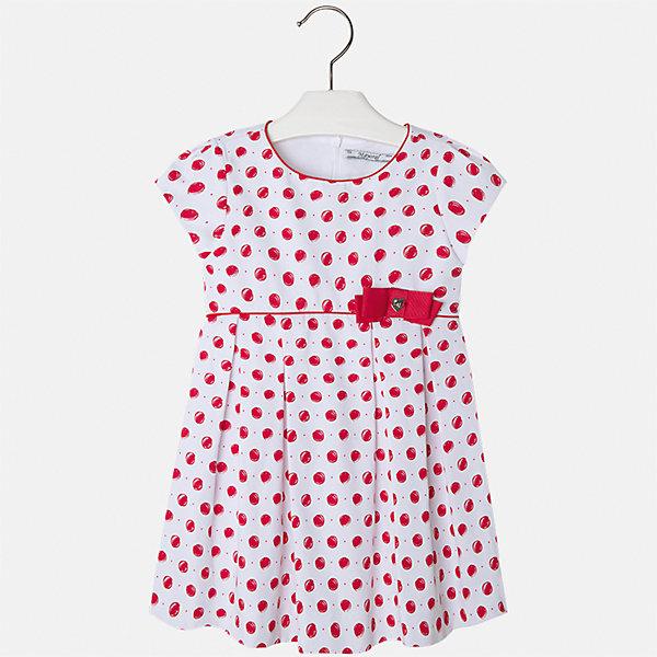 Платье для девочки MayoralПлатья и сарафаны<br>Характеристики товара:<br><br>• цвет: белый/красный горох<br>• состав: 100% хлопок, подкладка - 65% полиэстер, 35% хлопок<br>• застежка: молния<br>• украшено бантом<br>• завышенная талия<br>• короткие рукава<br>• с подкладкой<br>• страна бренда: Испания<br><br>Нарядное платье для девочки поможет разнообразить гардероб ребенка и создать эффектный наряд. Оно отлично подойдет для торжественных случаев. Красивый оттенок позволяет подобрать к вещи обувь разных расцветок. В составе материала подкладки - натуральный хлопок, гипоаллергенный, приятный на ощупь, дышащий. Платье хорошо сидит по фигуре.<br><br>Одежда, обувь и аксессуары от испанского бренда Mayoral полюбились детям и взрослым по всему миру. Модели этой марки - стильные и удобные. Для их производства используются только безопасные, качественные материалы и фурнитура. Порадуйте ребенка модными и красивыми вещами от Mayoral! <br><br>Платье для девочки от испанского бренда Mayoral (Майорал) можно купить в нашем интернет-магазине.<br>Ширина мм: 236; Глубина мм: 16; Высота мм: 184; Вес г: 177; Цвет: красный; Возраст от месяцев: 84; Возраст до месяцев: 96; Пол: Женский; Возраст: Детский; Размер: 128,92,134,122,116,110,104,98; SKU: 5291234;
