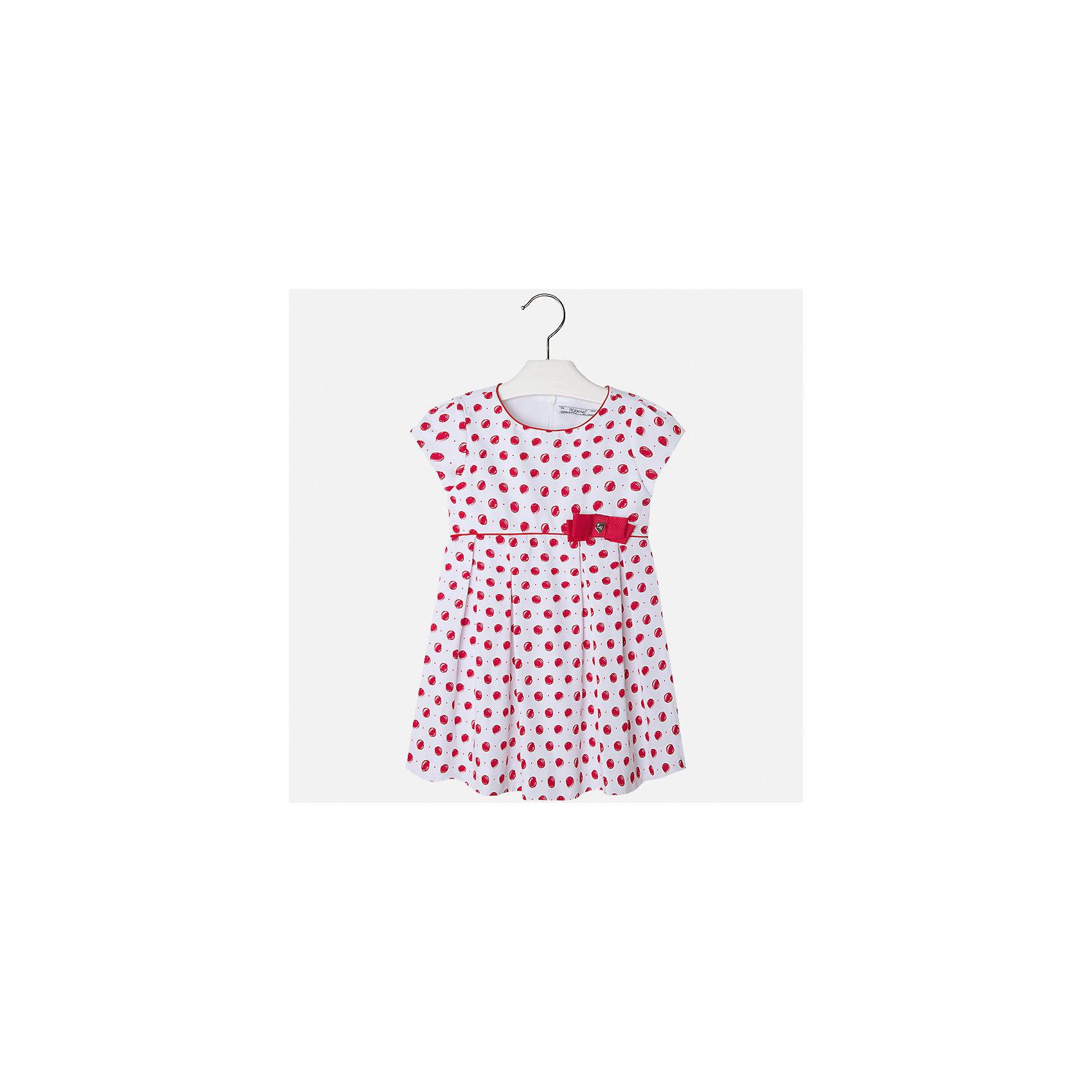 Платье для девочки MayoralПлатья и сарафаны<br>Характеристики товара:<br><br>• цвет: белый/красный горох<br>• состав: 100% хлопок, подкладка - 65% полиэстер, 35% хлопок<br>• застежка: молния<br>• украшено бантом<br>• завышенная талия<br>• короткие рукава<br>• с подкладкой<br>• страна бренда: Испания<br><br>Нарядное платье для девочки поможет разнообразить гардероб ребенка и создать эффектный наряд. Оно отлично подойдет для торжественных случаев. Красивый оттенок позволяет подобрать к вещи обувь разных расцветок. В составе материала подкладки - натуральный хлопок, гипоаллергенный, приятный на ощупь, дышащий. Платье хорошо сидит по фигуре.<br><br>Одежда, обувь и аксессуары от испанского бренда Mayoral полюбились детям и взрослым по всему миру. Модели этой марки - стильные и удобные. Для их производства используются только безопасные, качественные материалы и фурнитура. Порадуйте ребенка модными и красивыми вещами от Mayoral! <br><br>Платье для девочки от испанского бренда Mayoral (Майорал) можно купить в нашем интернет-магазине.<br><br>Ширина мм: 236<br>Глубина мм: 16<br>Высота мм: 184<br>Вес г: 177<br>Цвет: красный<br>Возраст от месяцев: 96<br>Возраст до месяцев: 108<br>Пол: Женский<br>Возраст: Детский<br>Размер: 134,92,98,104,110,116,122,128<br>SKU: 5291234