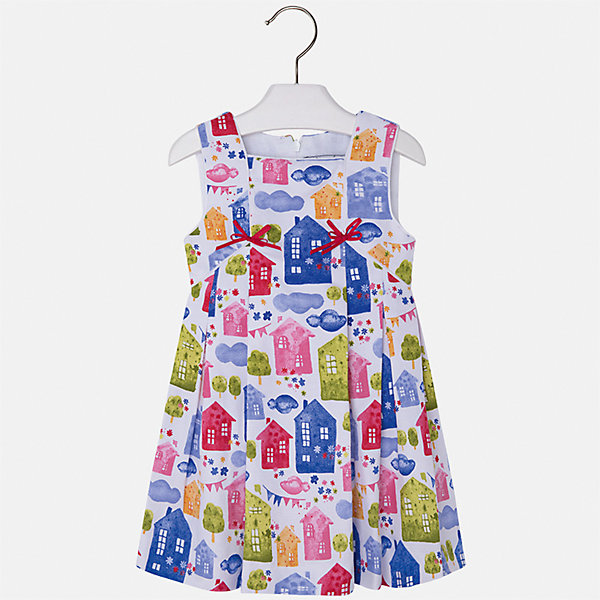Платье для девочки MayoralПлатья и сарафаны<br>Характеристики товара:<br><br>• цвет: мультиколор<br>• состав: 100% хлопок, подкладка - 50% полиэстер, 50% хлопок<br>• застежка: молния<br>• украшено бантами<br>• принт<br>• без рукавов<br>• с подкладкой<br>• страна бренда: Испания<br><br>Нарядное платье для девочки поможет разнообразить гардероб ребенка и создать эффектный наряд. Оно отлично подойдет для торжественных случаев или на каждый день. Красивый оттенок позволяет подобрать к вещи обувь разных расцветок. В составе материала подкладки - натуральный хлопок, гипоаллергенный, приятный на ощупь, дышащий. Платье хорошо сидит по фигуре.<br><br>Одежда, обувь и аксессуары от испанского бренда Mayoral полюбились детям и взрослым по всему миру. Модели этой марки - стильные и удобные. Для их производства используются только безопасные, качественные материалы и фурнитура. Порадуйте ребенка модными и красивыми вещами от Mayoral! <br><br>Платье для девочки от испанского бренда Mayoral (Майорал) можно купить в нашем интернет-магазине.<br><br>Ширина мм: 236<br>Глубина мм: 16<br>Высота мм: 184<br>Вес г: 177<br>Цвет: белый<br>Возраст от месяцев: 48<br>Возраст до месяцев: 60<br>Пол: Женский<br>Возраст: Детский<br>Размер: 128,122,116,104,98,92,110,134<br>SKU: 5291243