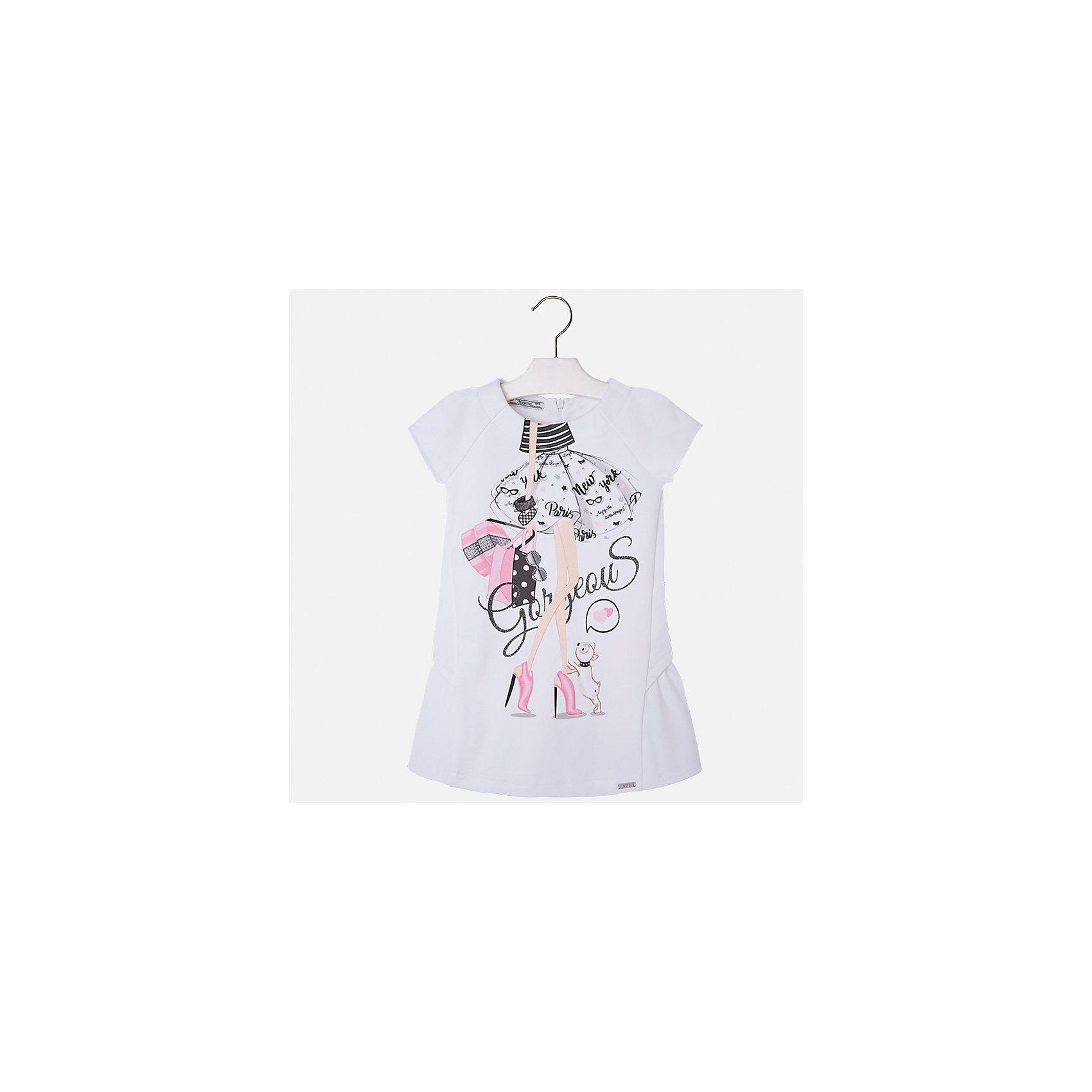 Платье для девочки MayoralХарактеристики товара:<br><br>• цвет: белый<br>• состав: 80% полиэстер, 15 % вискоза, 5% эластан<br>• застежка: молния<br>• короткие рукава реглан<br>• декорировано принтом<br>• металлический логотип<br>• страна бренда: Испания<br><br>Нарядное платье для девочки поможет разнообразить гардероб ребенка и создать эффектный наряд. Оно подойдет для различных случаев. Красивый оттенок позволяет подобрать к вещи обувь разных расцветок. Платье хорошо сидит по фигуре и оригинально смотрится.<br><br>Одежда, обувь и аксессуары от испанского бренда Mayoral полюбились детям и взрослым по всему миру. Модели этой марки - стильные и удобные. Для их производства используются только безопасные, качественные материалы и фурнитура. Порадуйте ребенка модными и красивыми вещами от Mayoral! <br><br>Платье для девочки от испанского бренда Mayoral (Майорал) можно купить в нашем интернет-магазине.<br><br>Ширина мм: 236<br>Глубина мм: 16<br>Высота мм: 184<br>Вес г: 177<br>Цвет: фиолетовый<br>Возраст от месяцев: 24<br>Возраст до месяцев: 36<br>Пол: Женский<br>Возраст: Детский<br>Размер: 98,134,104,110,116,122,128<br>SKU: 5291297