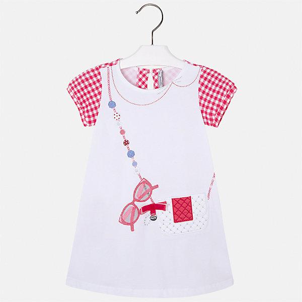 Платье для девочки MayoralПлатья и сарафаны<br>Характеристики товара:<br><br>• цвет: белый/красный<br>• состав: 95% хлопок, 5% эластан<br>• застежка: молния<br>• короткие рукава <br>• декорировано принтом<br>• металлический логотип<br>• страна бренда: Испания<br><br>Нарядное платье для девочки поможет разнообразить гардероб ребенка и создать эффектный наряд. Оно подойдет для различных случаев. Красивый оттенок позволяет подобрать к вещи обувь разных расцветок. Платье хорошо сидит по фигуре и оригинально смотрится. В составе материала - натуральный хлопок, гипоаллергенный, приятный на ощупь, дышащий. <br><br>Одежда, обувь и аксессуары от испанского бренда Mayoral полюбились детям и взрослым по всему миру. Модели этой марки - стильные и удобные. Для их производства используются только безопасные, качественные материалы и фурнитура. Порадуйте ребенка модными и красивыми вещами от Mayoral! <br><br>Платье для девочки от испанского бренда Mayoral (Майорал) можно купить в нашем интернет-магазине.<br><br>Ширина мм: 236<br>Глубина мм: 16<br>Высота мм: 184<br>Вес г: 177<br>Цвет: красный<br>Возраст от месяцев: 18<br>Возраст до месяцев: 24<br>Пол: Женский<br>Возраст: Детский<br>Размер: 92,134,128,122,116,110,104,98<br>SKU: 5291328