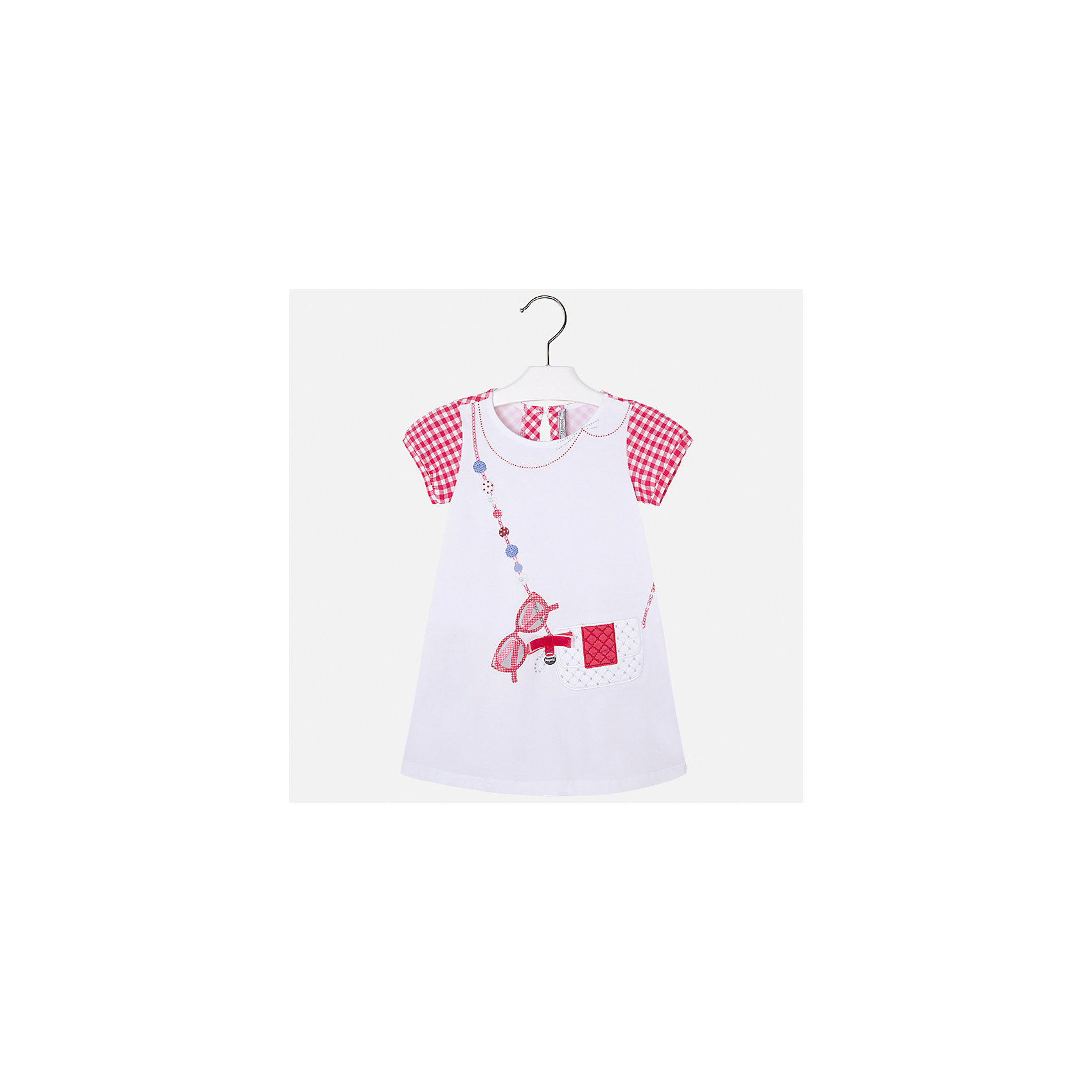 Платье для девочки MayoralПлатья и сарафаны<br>Характеристики товара:<br><br>• цвет: белый/красный<br>• состав: 95% хлопок, 5% эластан<br>• застежка: молния<br>• короткие рукава <br>• декорировано принтом<br>• металлический логотип<br>• страна бренда: Испания<br><br>Нарядное платье для девочки поможет разнообразить гардероб ребенка и создать эффектный наряд. Оно подойдет для различных случаев. Красивый оттенок позволяет подобрать к вещи обувь разных расцветок. Платье хорошо сидит по фигуре и оригинально смотрится. В составе материала - натуральный хлопок, гипоаллергенный, приятный на ощупь, дышащий. <br><br>Одежда, обувь и аксессуары от испанского бренда Mayoral полюбились детям и взрослым по всему миру. Модели этой марки - стильные и удобные. Для их производства используются только безопасные, качественные материалы и фурнитура. Порадуйте ребенка модными и красивыми вещами от Mayoral! <br><br>Платье для девочки от испанского бренда Mayoral (Майорал) можно купить в нашем интернет-магазине.<br><br>Ширина мм: 236<br>Глубина мм: 16<br>Высота мм: 184<br>Вес г: 177<br>Цвет: красный<br>Возраст от месяцев: 96<br>Возраст до месяцев: 108<br>Пол: Женский<br>Возраст: Детский<br>Размер: 92,98,104,110,116,122,128,134<br>SKU: 5291328