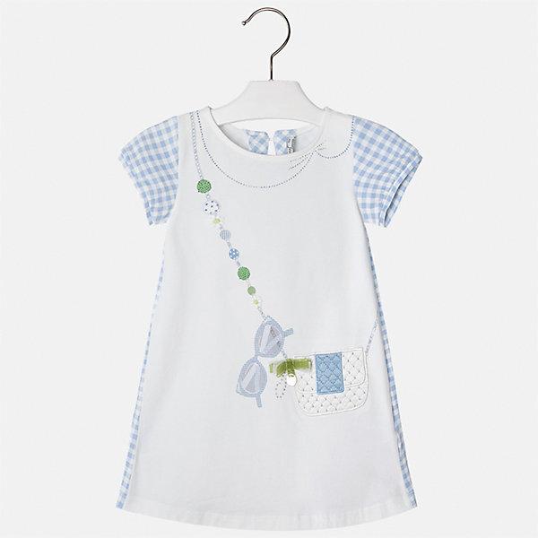 Платье для девочки MayoralЛетние платья и сарафаны<br>Характеристики товара:<br><br>• цвет: белый с голубым<br>• состав: 95% хлопок, 5% эластан<br>• застежка: молния<br>• короткие рукава <br>• декорировано принтом<br>• металлический логотип<br>• страна бренда: Испания<br><br>Нарядное платье для девочки поможет разнообразить гардероб ребенка и создать эффектный наряд. Оно подойдет для различных случаев. Красивый оттенок позволяет подобрать к вещи обувь разных расцветок. Платье хорошо сидит по фигуре и оригинально смотрится. В составе материала - натуральный хлопок, гипоаллергенный, приятный на ощупь, дышащий. <br><br>Одежда, обувь и аксессуары от испанского бренда Mayoral полюбились детям и взрослым по всему миру. Модели этой марки - стильные и удобные. Для их производства используются только безопасные, качественные материалы и фурнитура. Порадуйте ребенка модными и красивыми вещами от Mayoral! <br><br>Платье для девочки от испанского бренда Mayoral (Майорал) можно купить в нашем интернет-магазине.<br><br>Ширина мм: 236<br>Глубина мм: 16<br>Высота мм: 184<br>Вес г: 177<br>Цвет: голубой<br>Возраст от месяцев: 18<br>Возраст до месяцев: 24<br>Пол: Женский<br>Возраст: Детский<br>Размер: 98,92,134,128,122,116,110,104<br>SKU: 5291337
