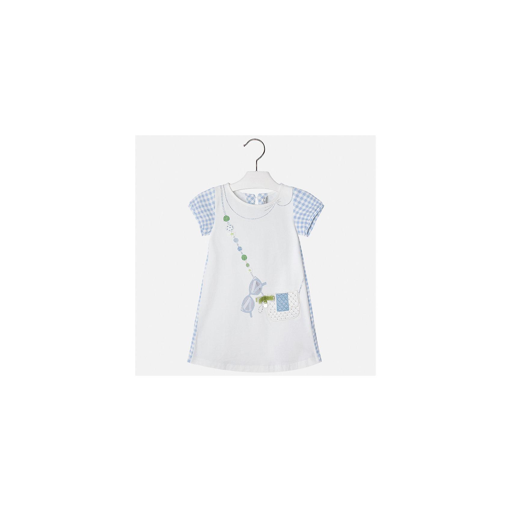 Платье для девочки MayoralЛетние платья и сарафаны<br>Характеристики товара:<br><br>• цвет: белый с голубым<br>• состав: 95% хлопок, 5% эластан<br>• застежка: молния<br>• короткие рукава <br>• декорировано принтом<br>• металлический логотип<br>• страна бренда: Испания<br><br>Нарядное платье для девочки поможет разнообразить гардероб ребенка и создать эффектный наряд. Оно подойдет для различных случаев. Красивый оттенок позволяет подобрать к вещи обувь разных расцветок. Платье хорошо сидит по фигуре и оригинально смотрится. В составе материала - натуральный хлопок, гипоаллергенный, приятный на ощупь, дышащий. <br><br>Одежда, обувь и аксессуары от испанского бренда Mayoral полюбились детям и взрослым по всему миру. Модели этой марки - стильные и удобные. Для их производства используются только безопасные, качественные материалы и фурнитура. Порадуйте ребенка модными и красивыми вещами от Mayoral! <br><br>Платье для девочки от испанского бренда Mayoral (Майорал) можно купить в нашем интернет-магазине.<br><br>Ширина мм: 236<br>Глубина мм: 16<br>Высота мм: 184<br>Вес г: 177<br>Цвет: голубой<br>Возраст от месяцев: 96<br>Возраст до месяцев: 108<br>Пол: Женский<br>Возраст: Детский<br>Размер: 134,92,98,104,110,116,122,128<br>SKU: 5291337